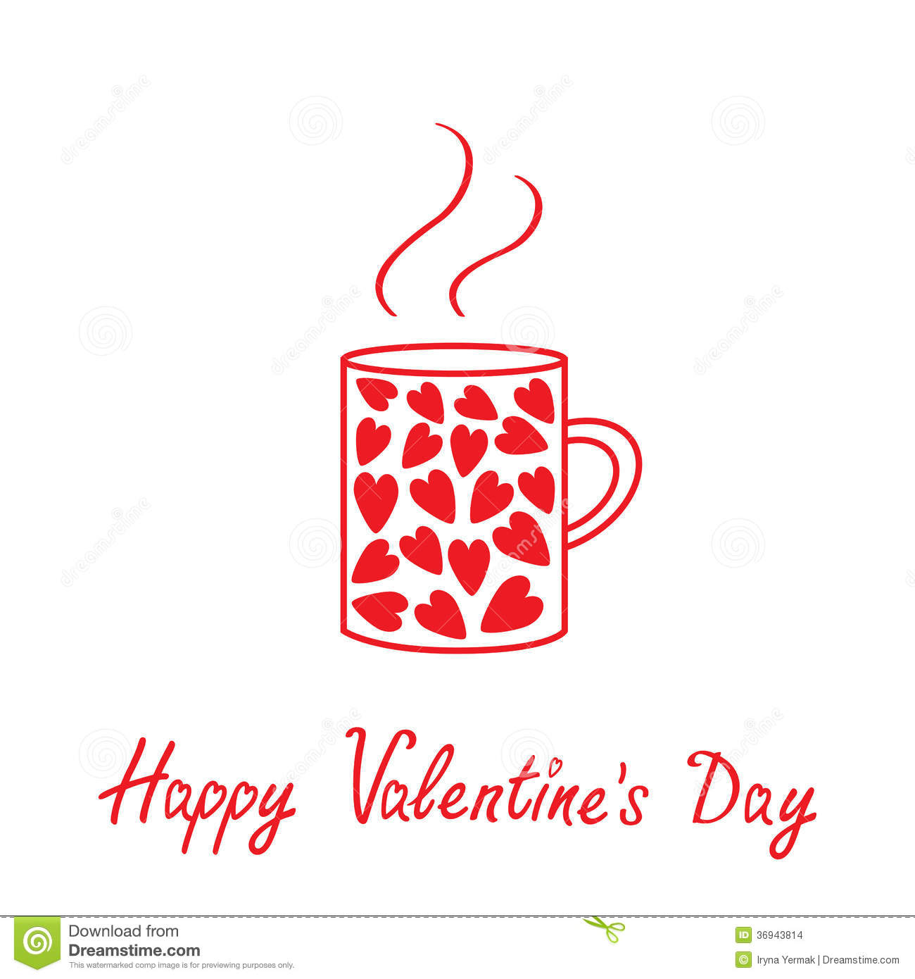 Mug With Hearts And Steam. Happy Valentines Day Ca Stock ...
