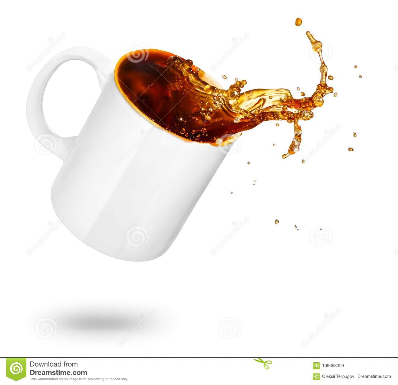 Mug of spilling coffee stock image  Image of pour, drop