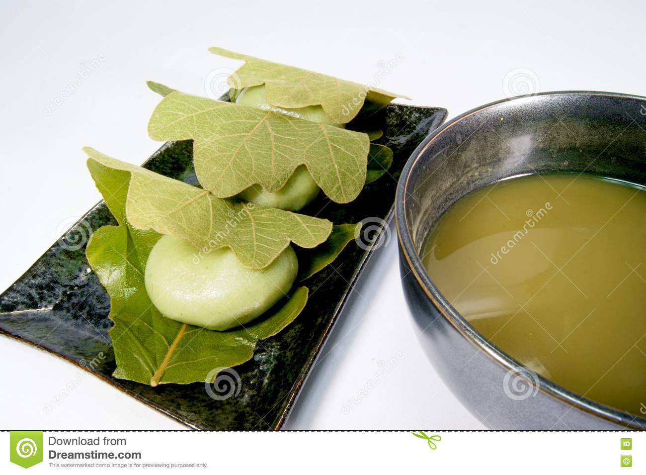 Mugwort Rice Cake Be Wrapped By Raw Leaves Stock Image