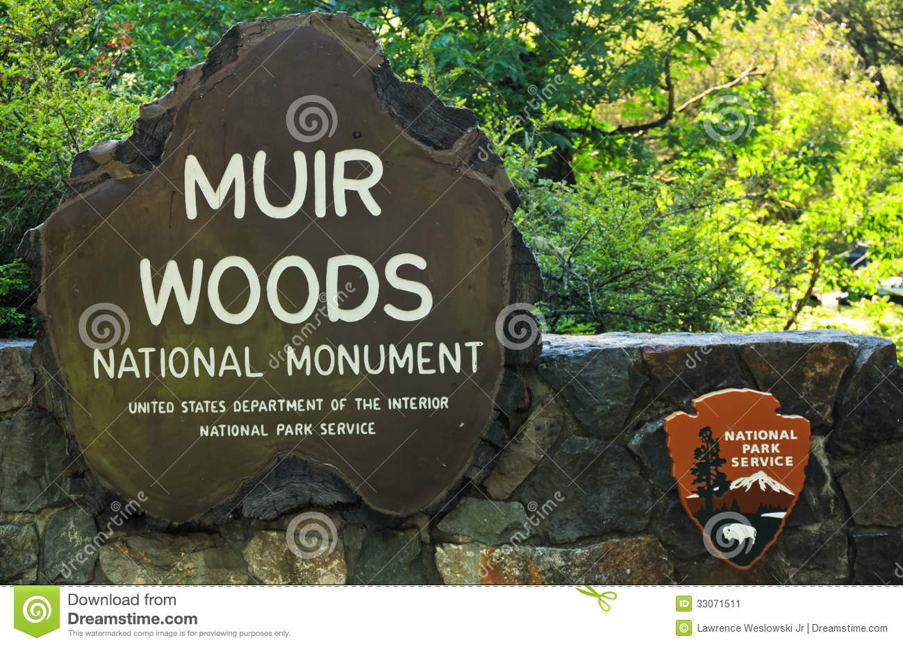 Muir Woods National Park Service Sign Editorial Photo