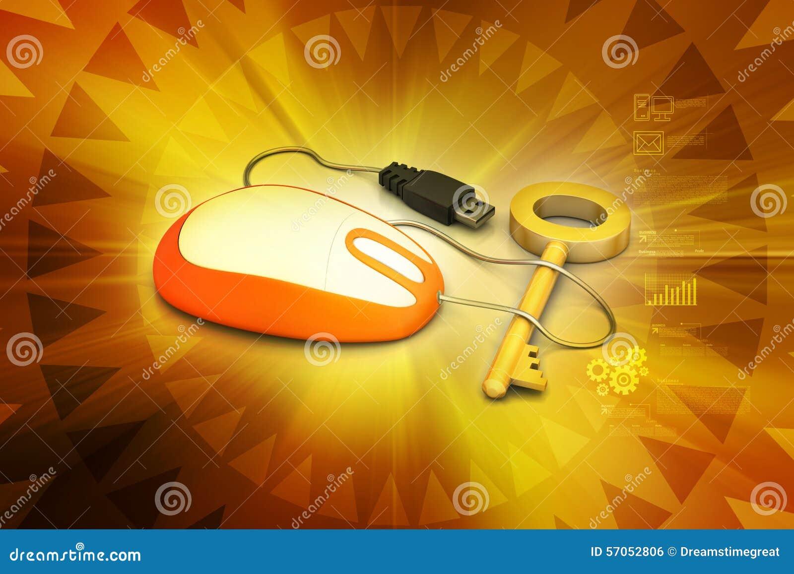 Muis aan sleutel wordt aangesloten die