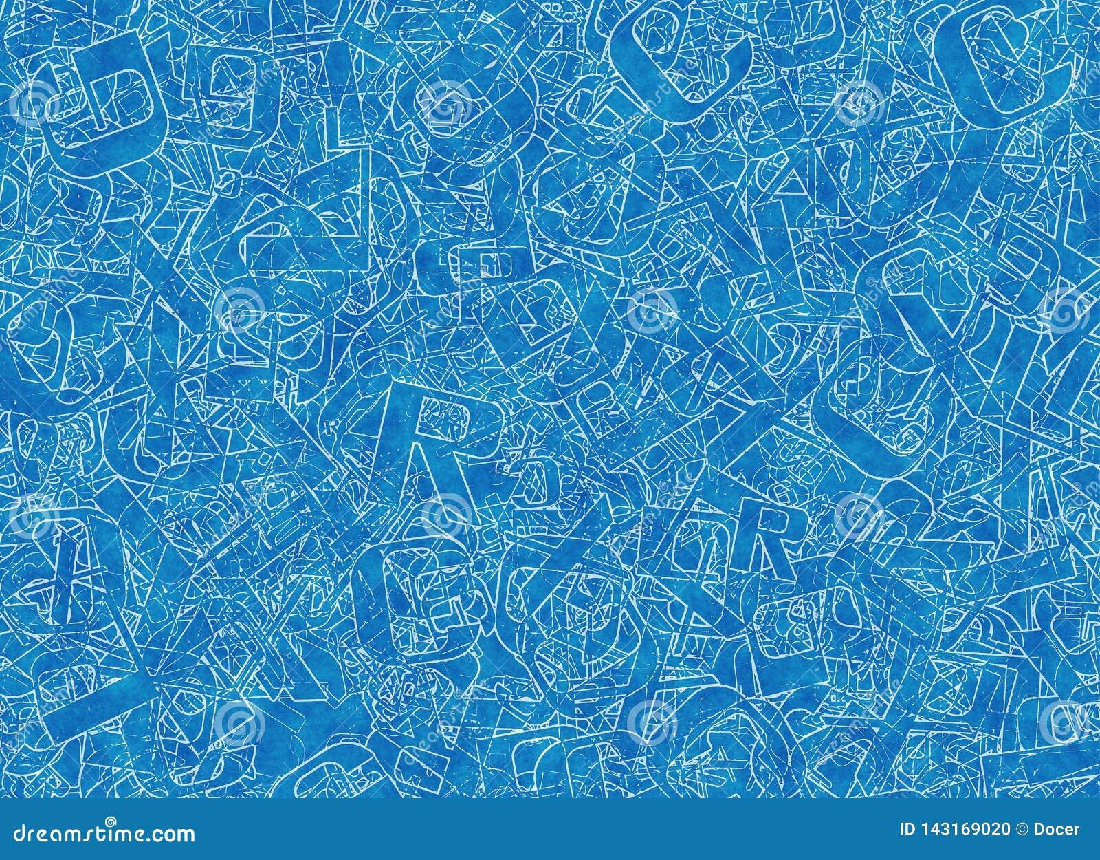 Muitas letras azuis abstratas misturadas do alfabeto
