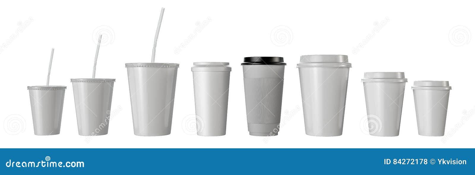 Muitos copos de papel do fast food isolados