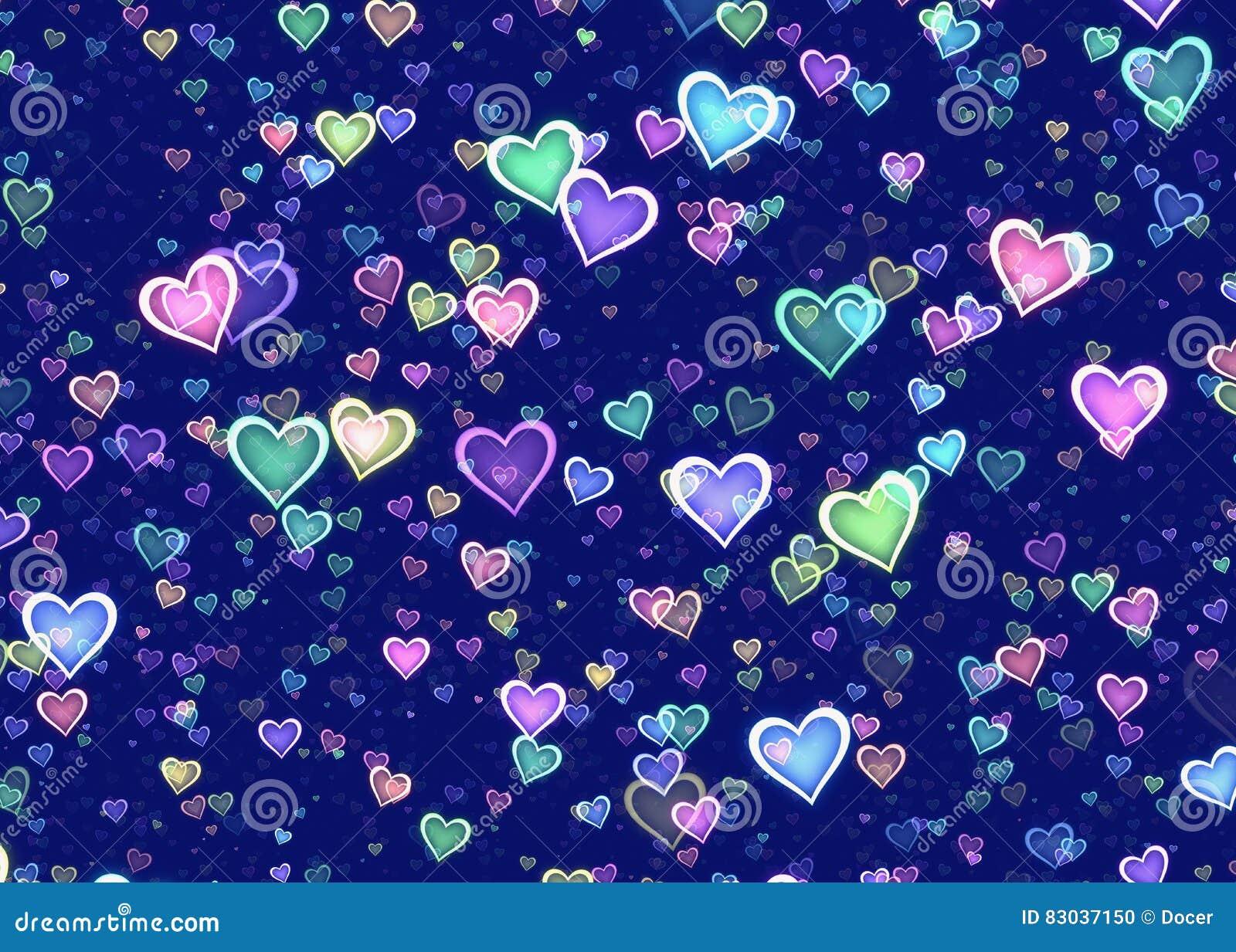 Muitos corações coloridos no fundo azul