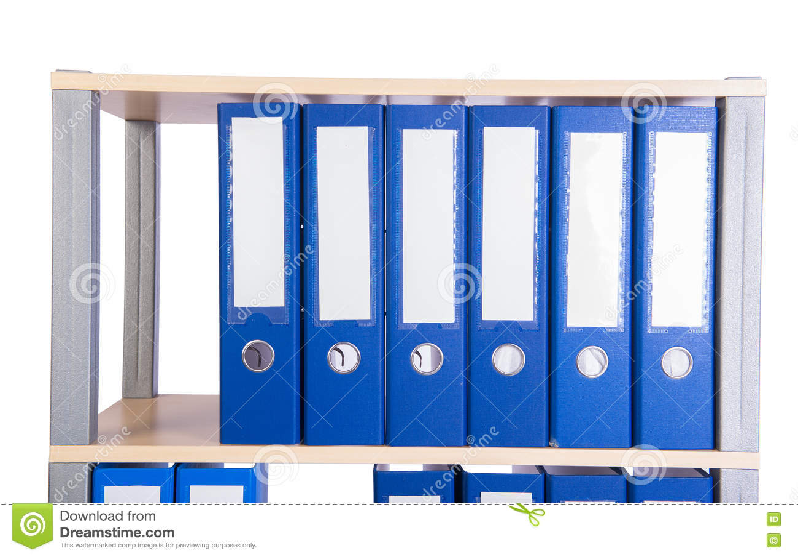 Muitos dobradores da pasta na prateleira