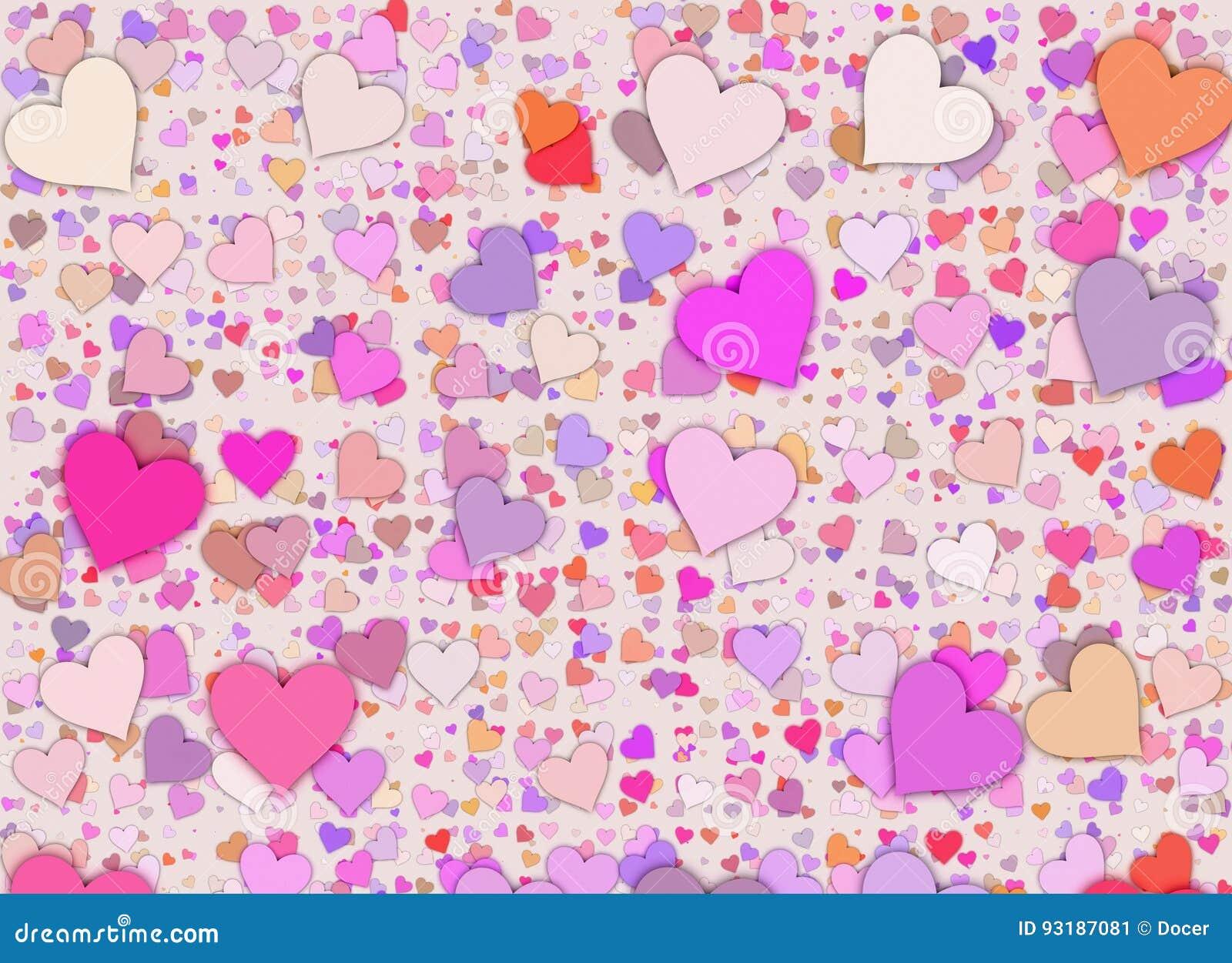 Muitos fundos pequenos coloridos dos corações