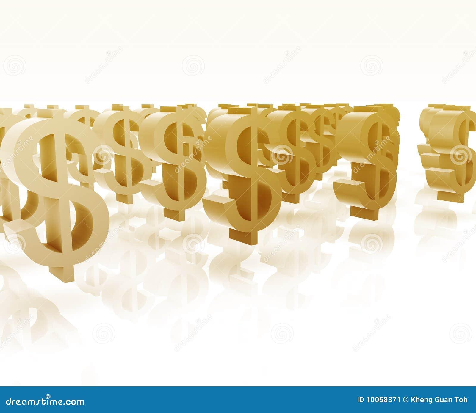 Muitos símbolos do dólar
