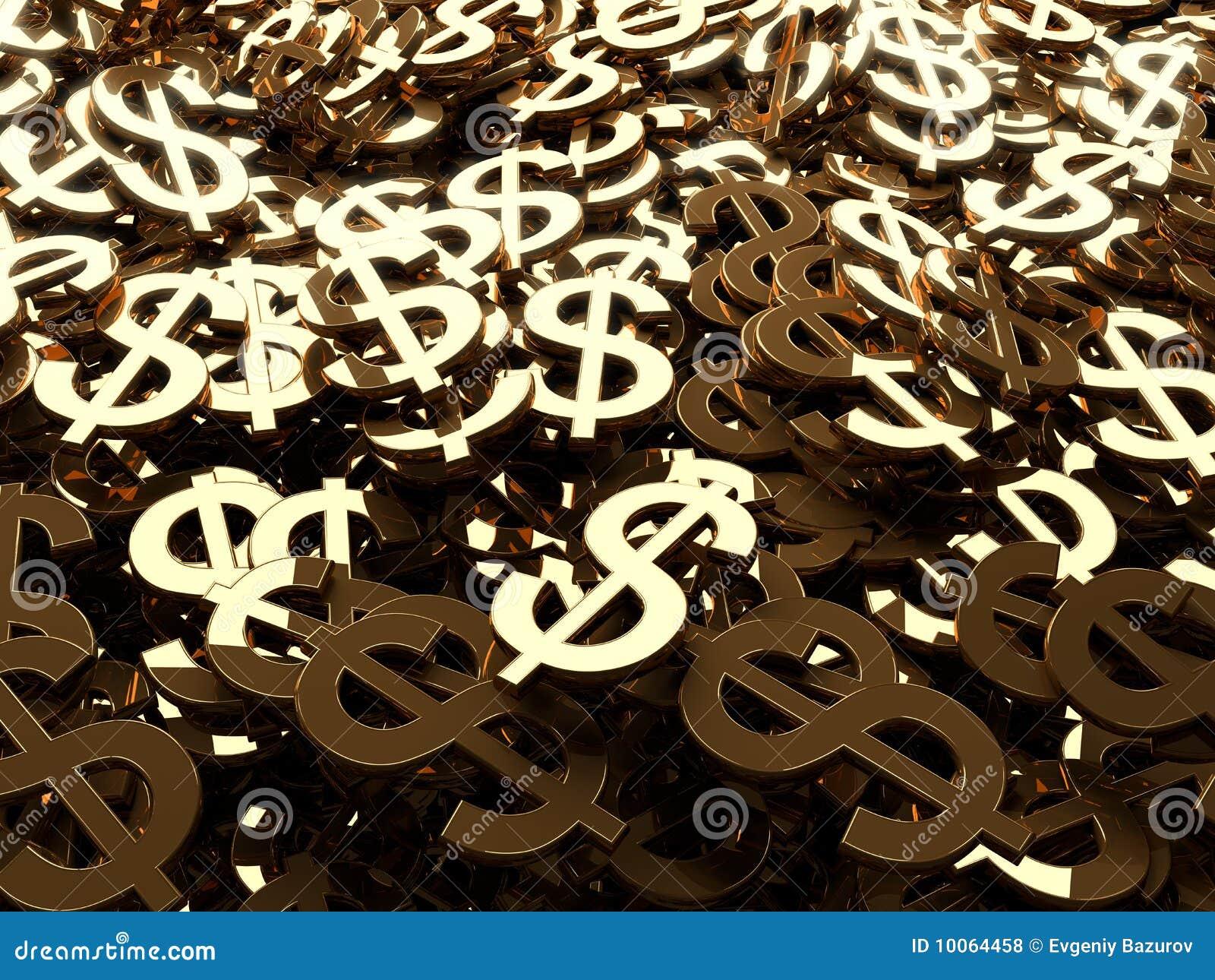 Muitos sinais de dólar