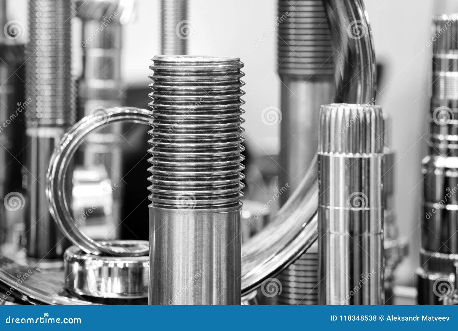 Muitos tipos de metal detalham o fundo do projeto industrial Conceito da engenharia industrial