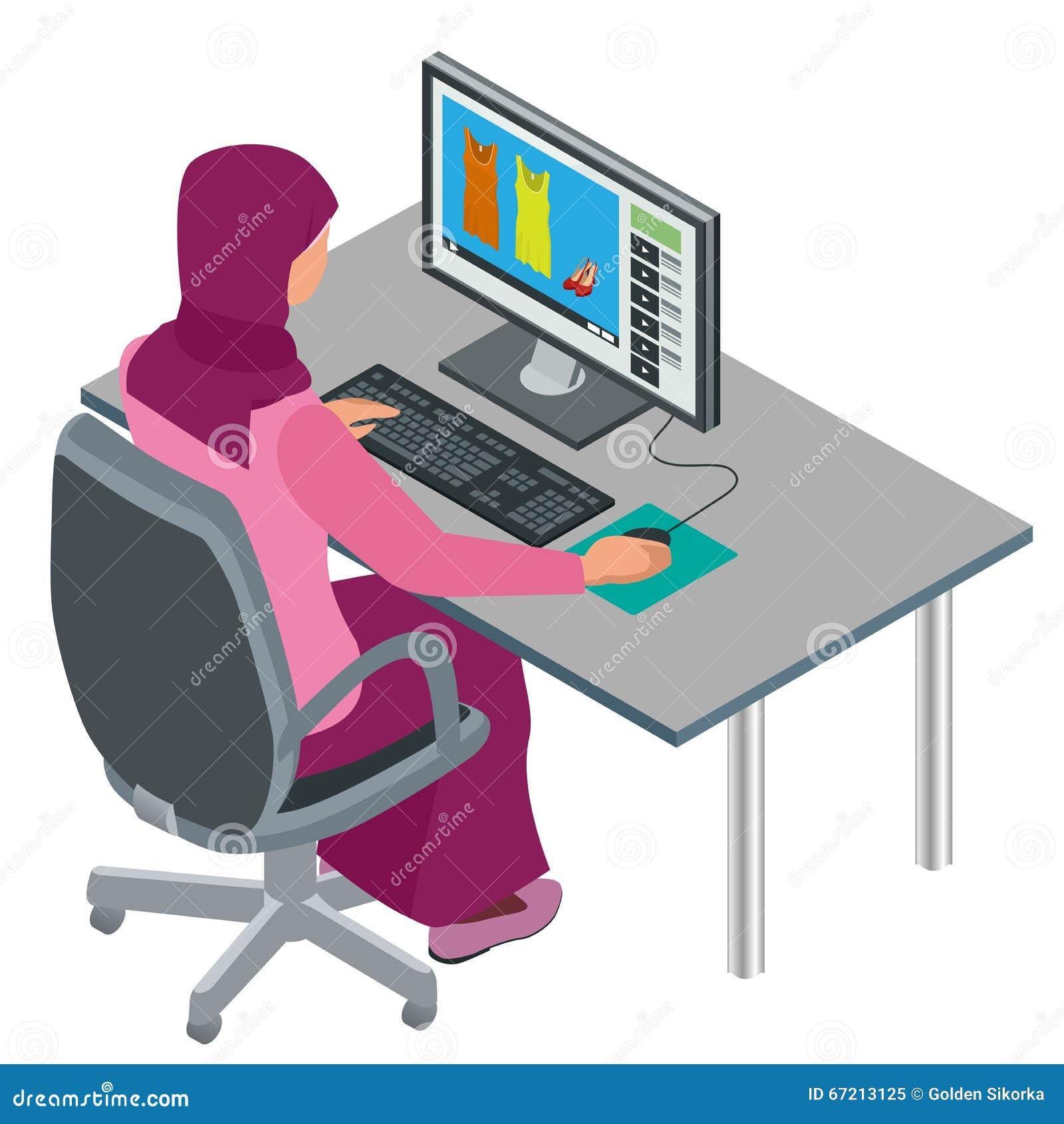 Mujer árabe, mujer musulmán, mujer asiática que trabaja en oficina con el ordenador Trabajador corporativo árabe de sexo femenino