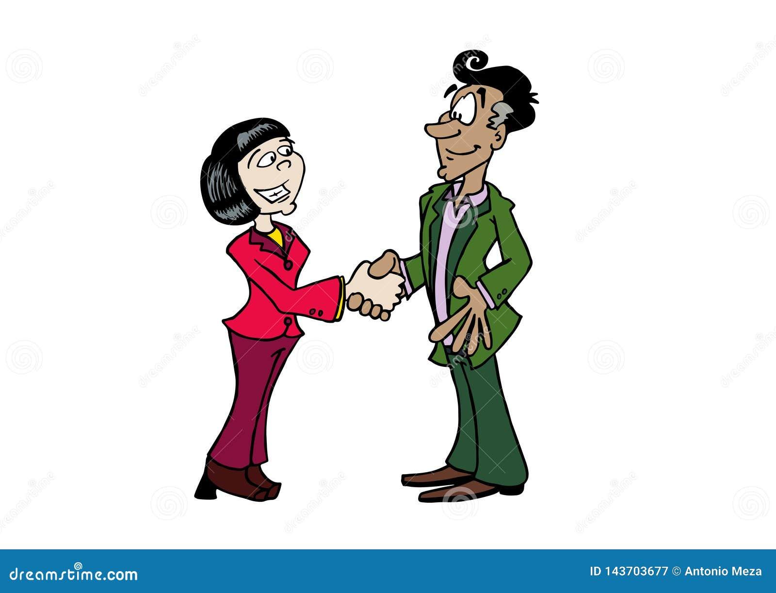 Mujer asiática del apretón de manos y hombre envejecido medio