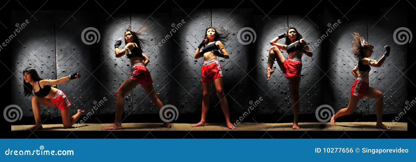 Mujer asiática que practica el boxeo tailandés de Muay