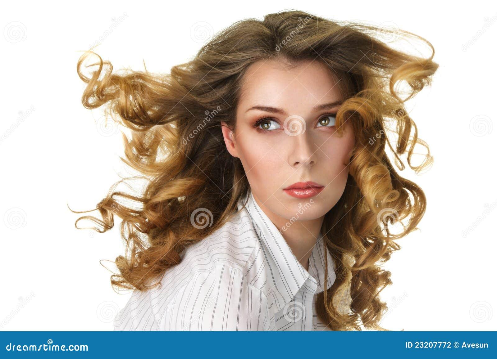 Mujer atractiva con largo suelto fotograf a de archivo for Suelto blanco suelto barato