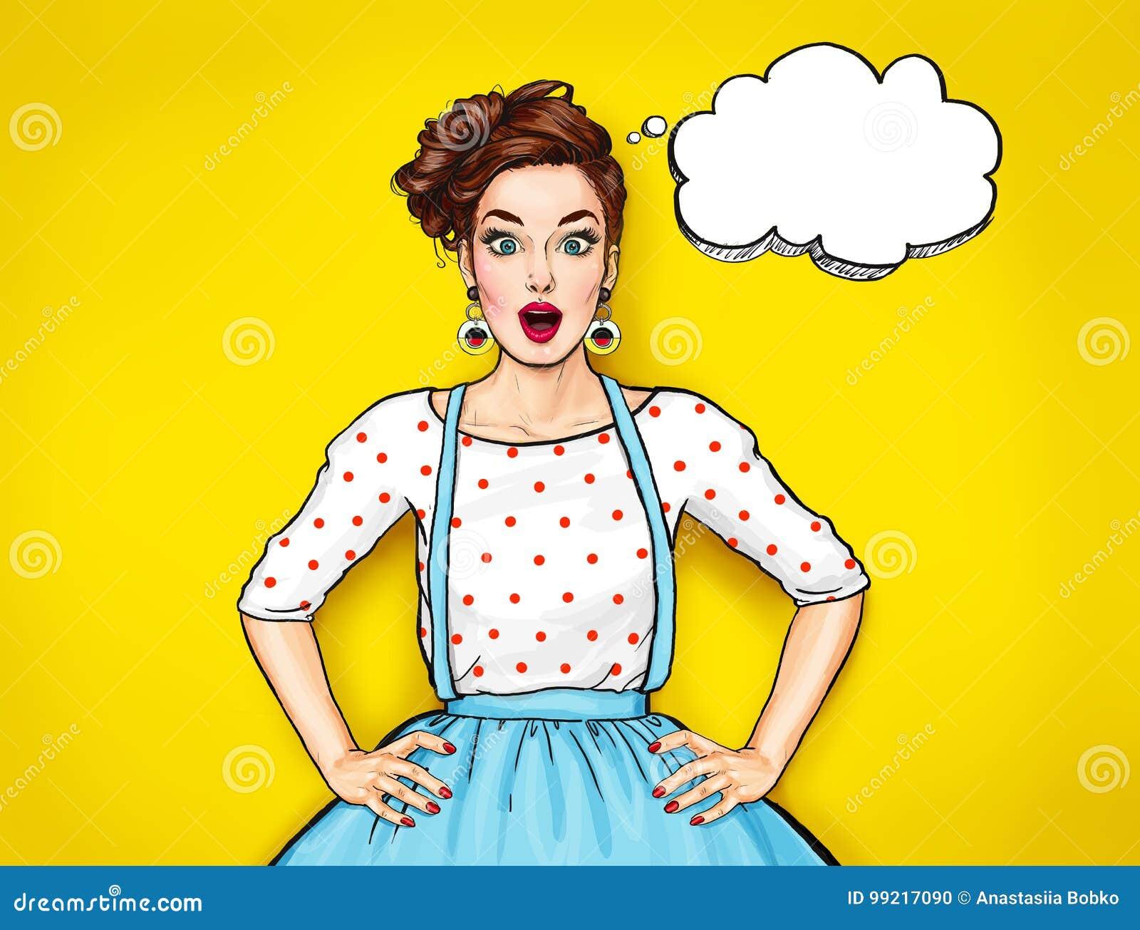 Mujer atractiva joven sorprendida con la boca abierta Mujer cómica Muchacha del chisme Mujeres sorprendentes Muchacha del arte po