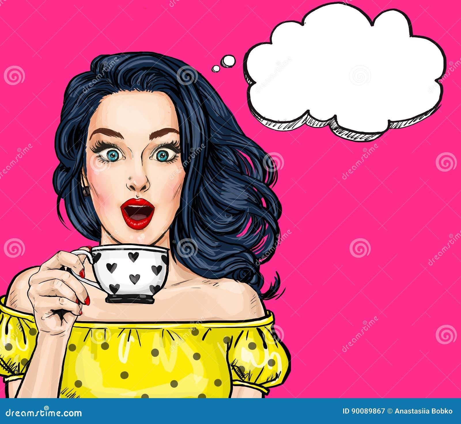 Mujer atractiva joven sorprendida con la boca abierta con la taza Mujer cómica Mujeres sorprendentes