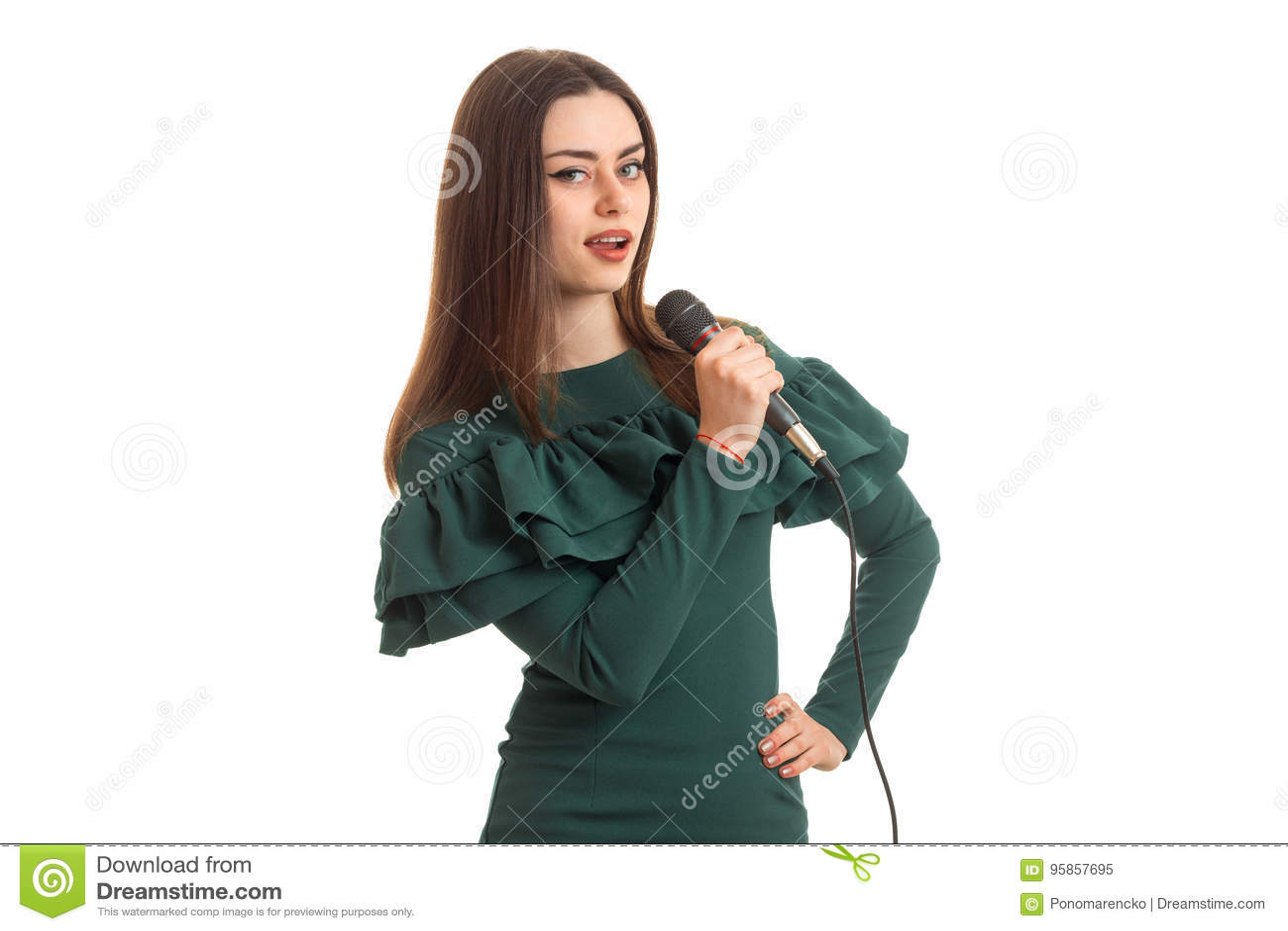 Bastante Del Vestido Canto Joven En Verde La Mujer Con Canción SUMqzpV