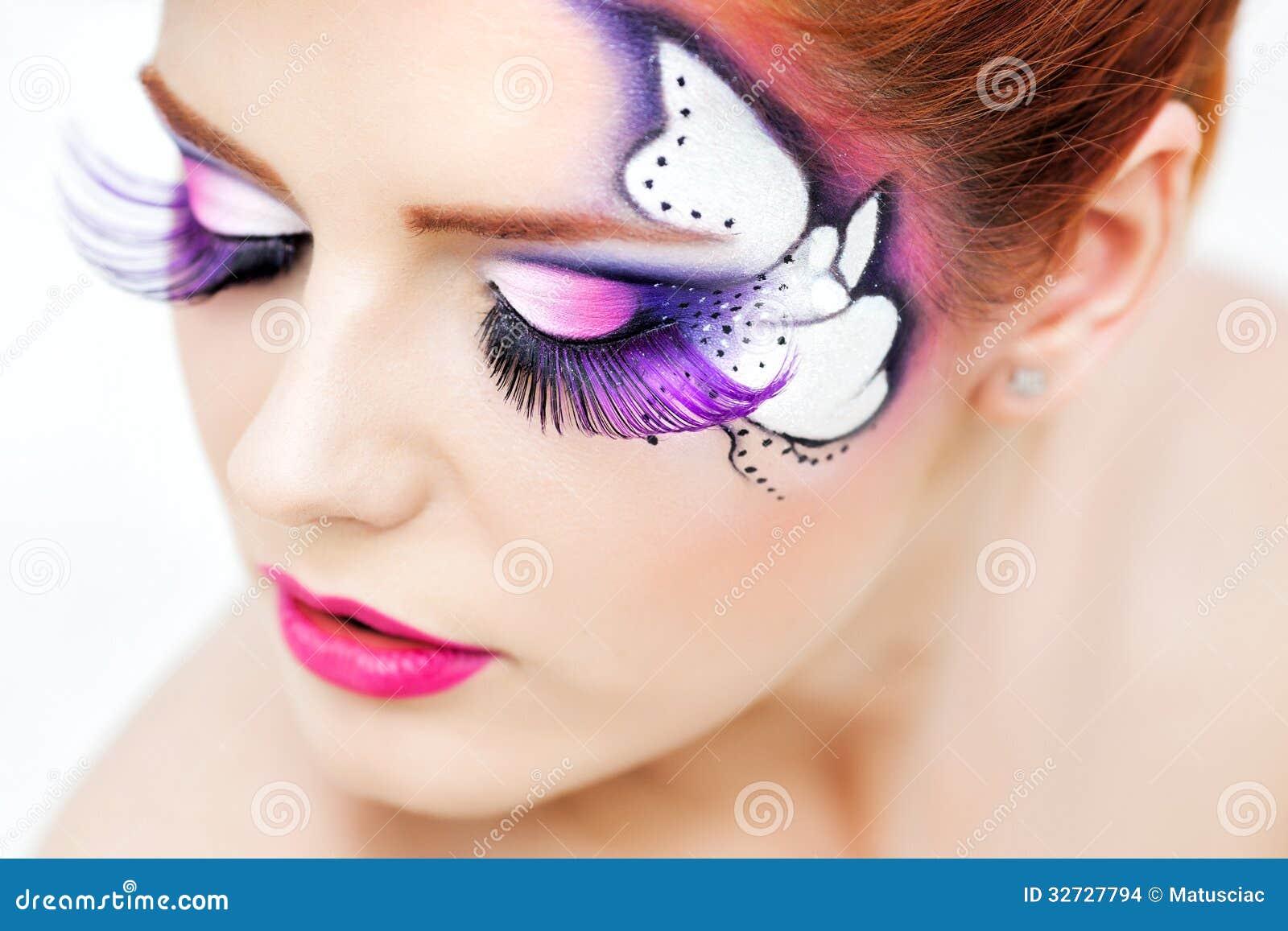 Mujer bonita con maquillaje hermoso de la fantasía Imagenes de archivo