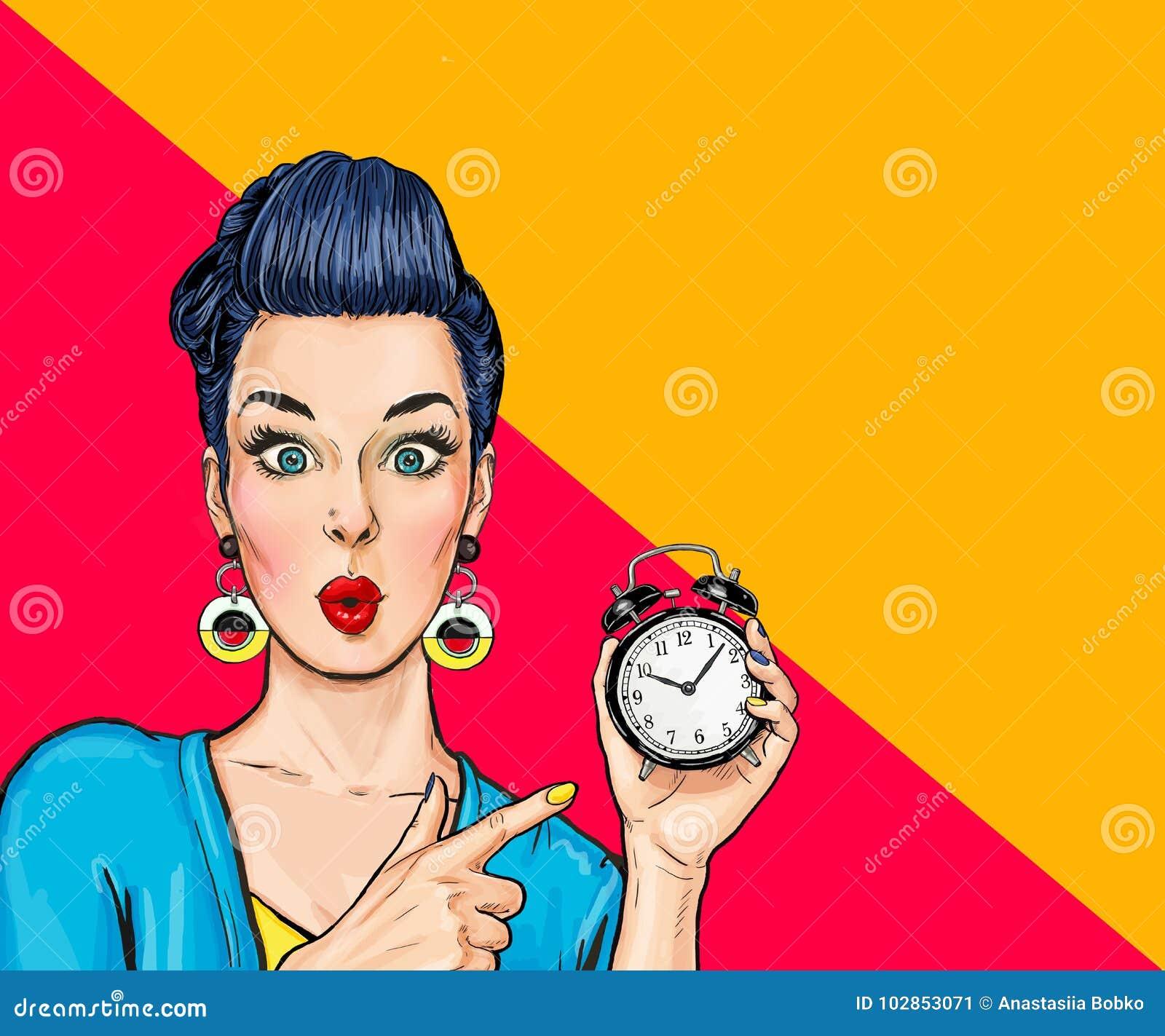 Mujer cómica sorprendida con el reloj
