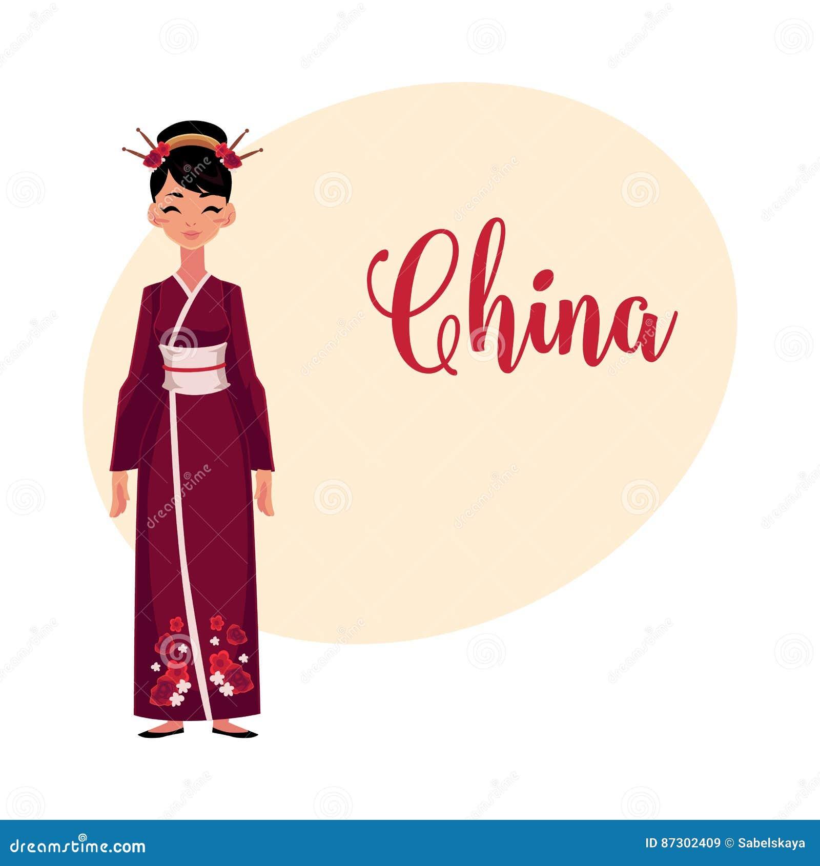 3540c1bb6 Mujer China En El Traje Nacional Tradicional, Vestido Largo Del ...