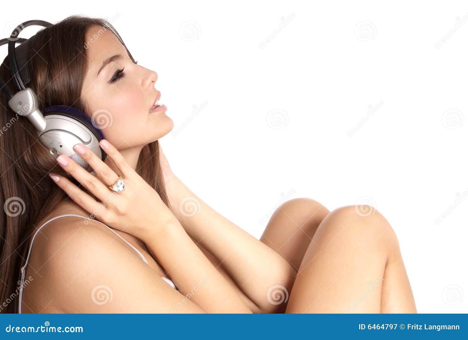 Mujer con el auricular