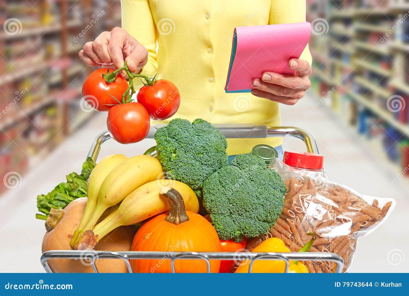 Mujer con el carro de compras