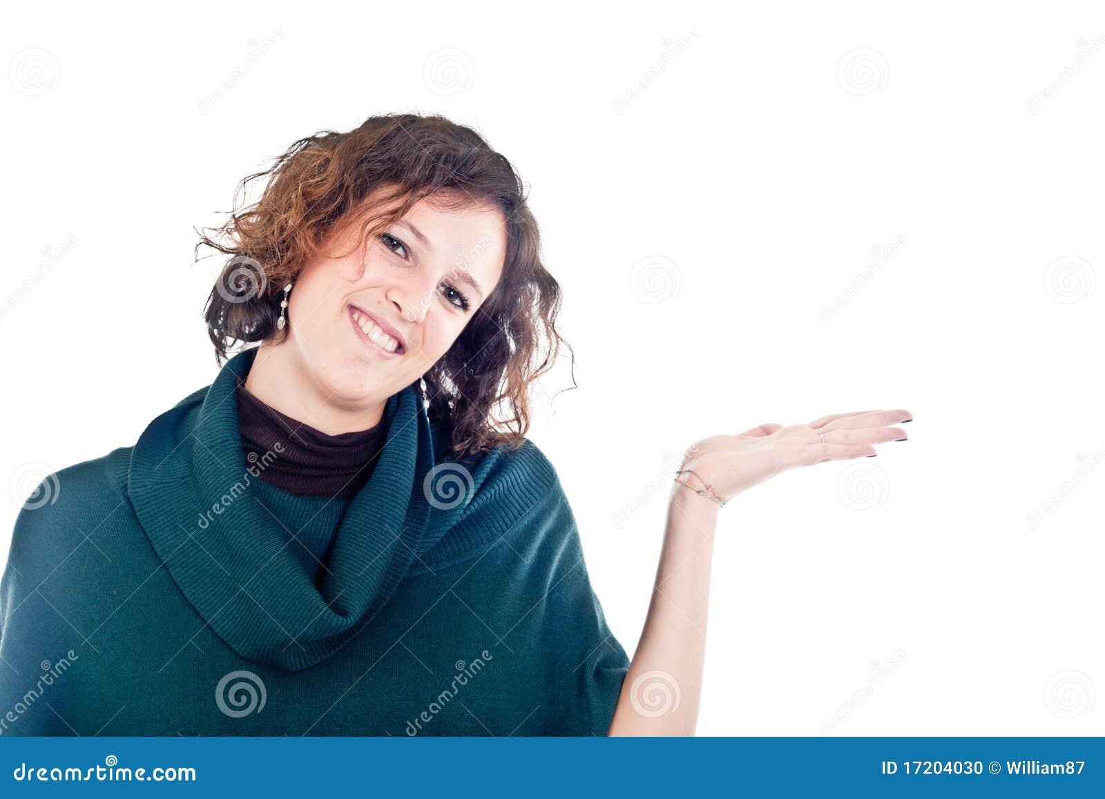 Mujer con el espacio de la copia