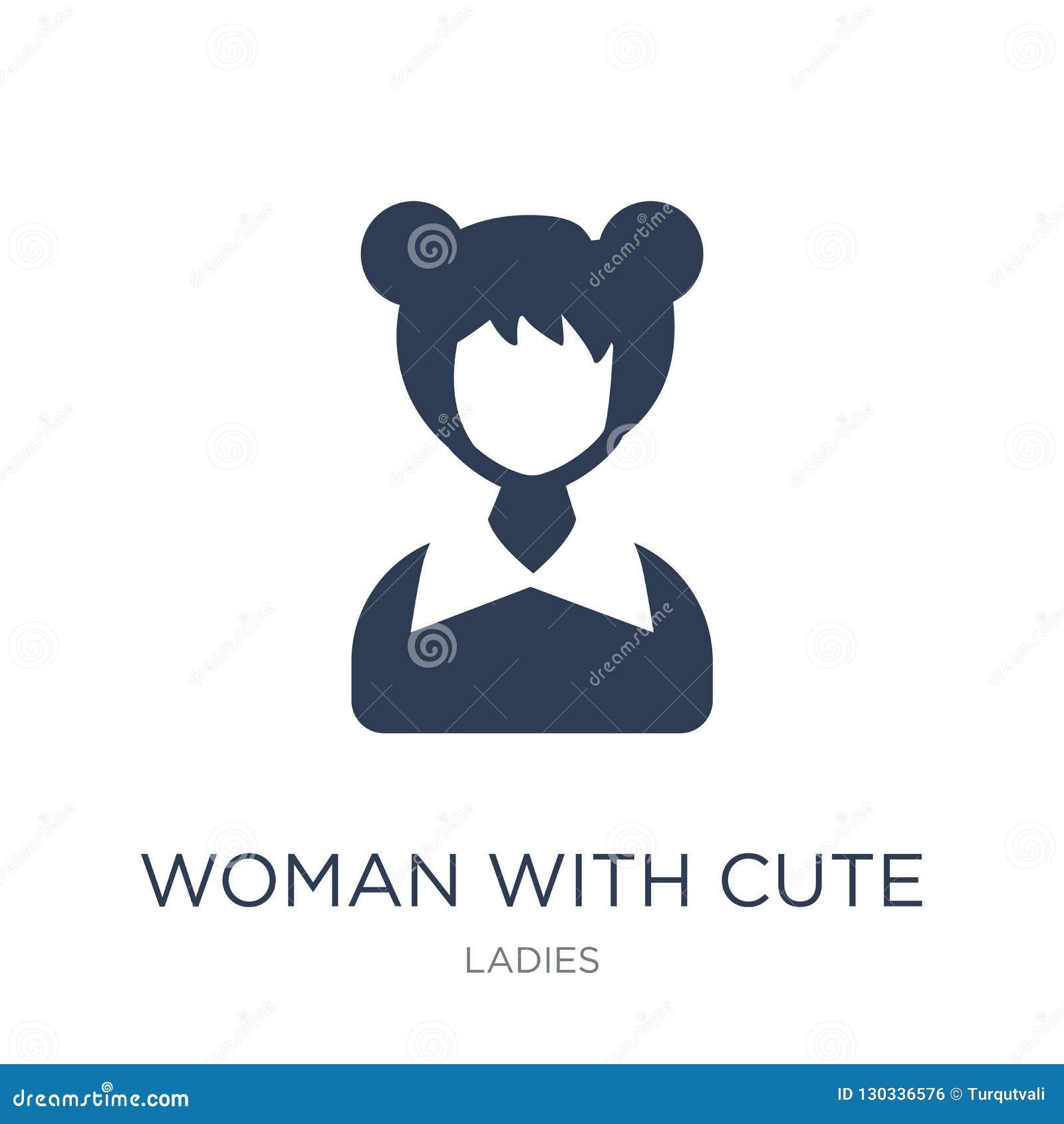 Mujer con el icono lindo del peinado Mujer plana de moda del vector con Cu