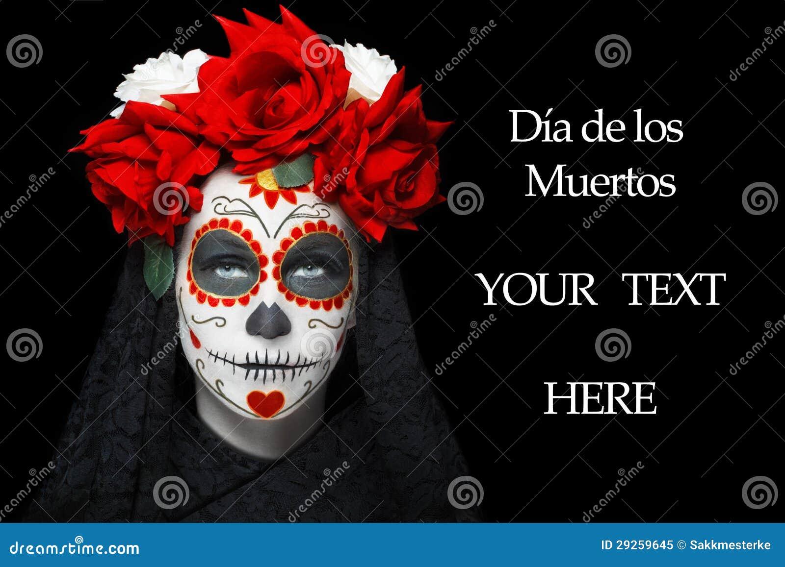 joven con el maquillaje de dia de los muertos, día de fondo muerto