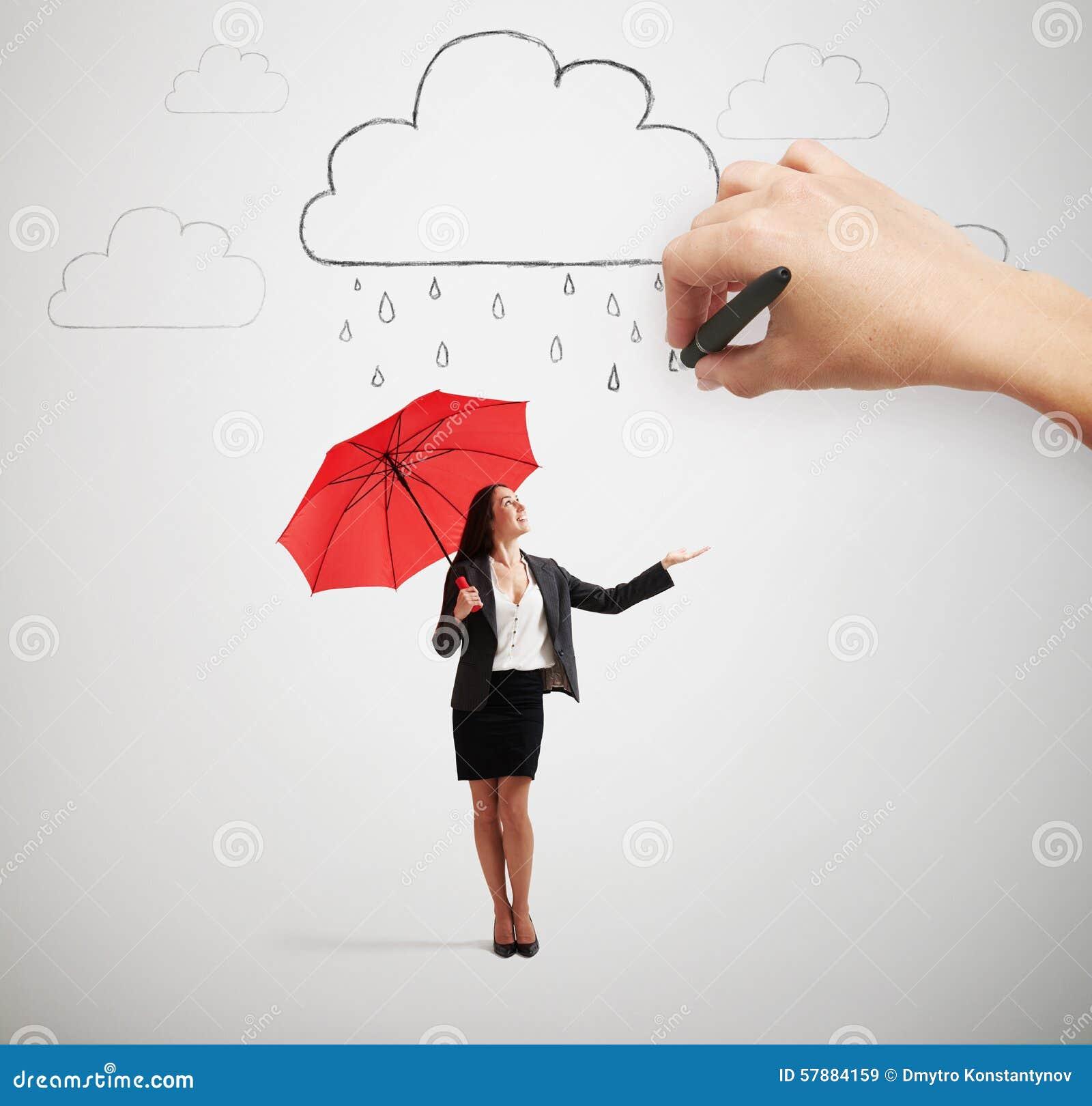 Mujer Con El Paraguas Debajo De La Lluvia Imagen De Archivo Imagen De Concepto Formal 57884159