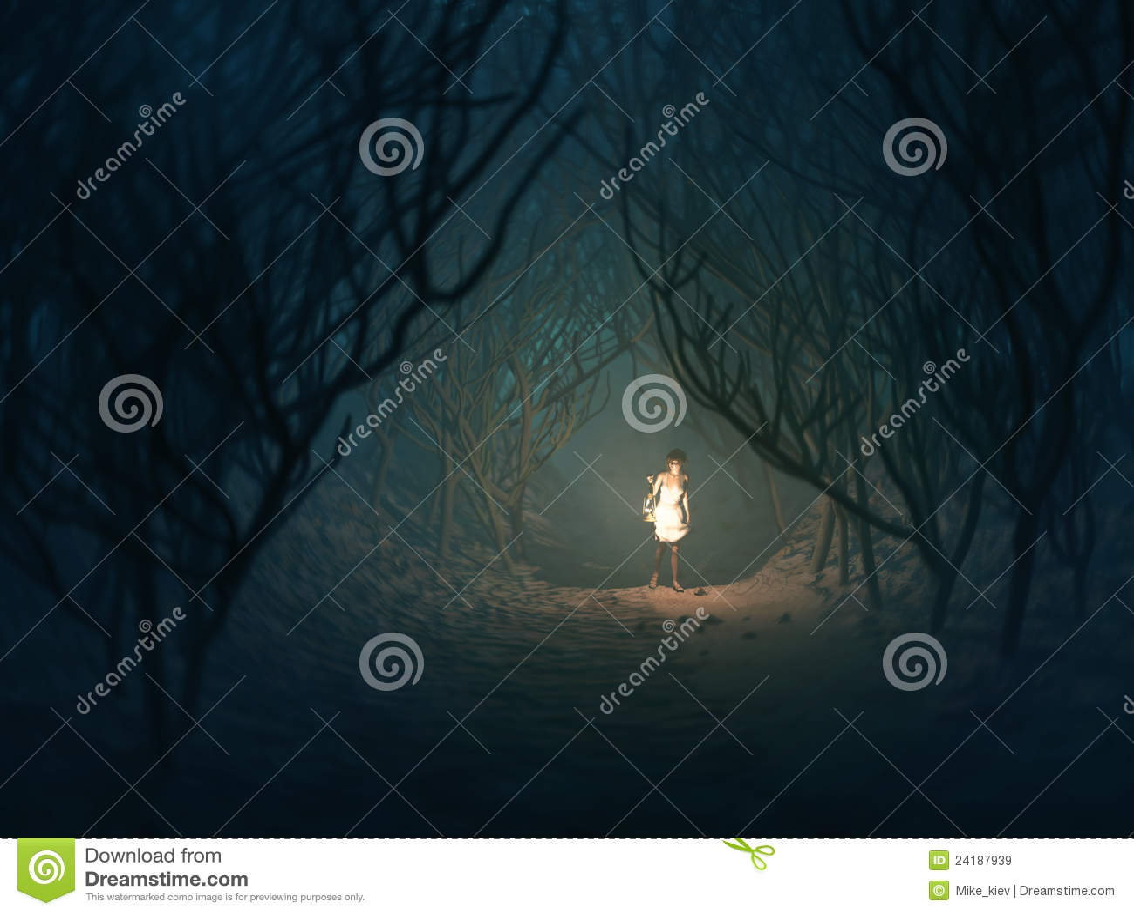 Mujer con la lámpara en bosque oscuro
