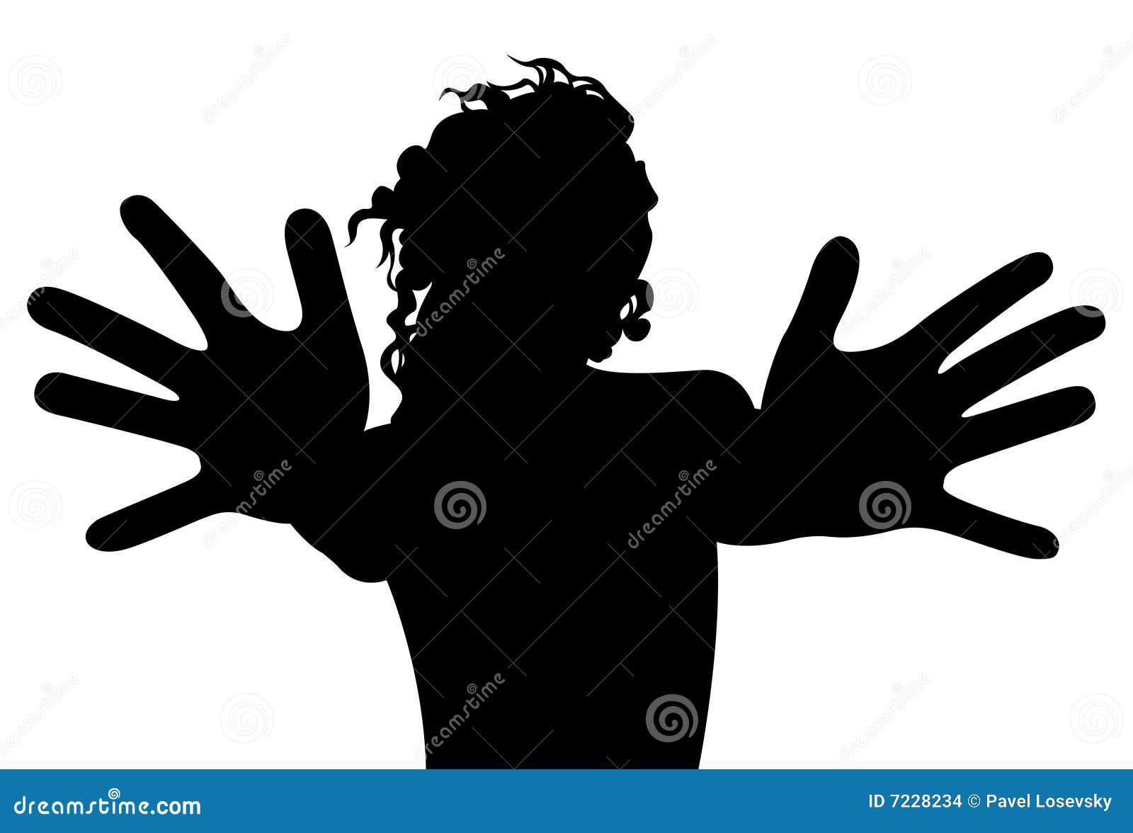 Mujer Con La Silueta Del Vector De Los Dedos Ilustración