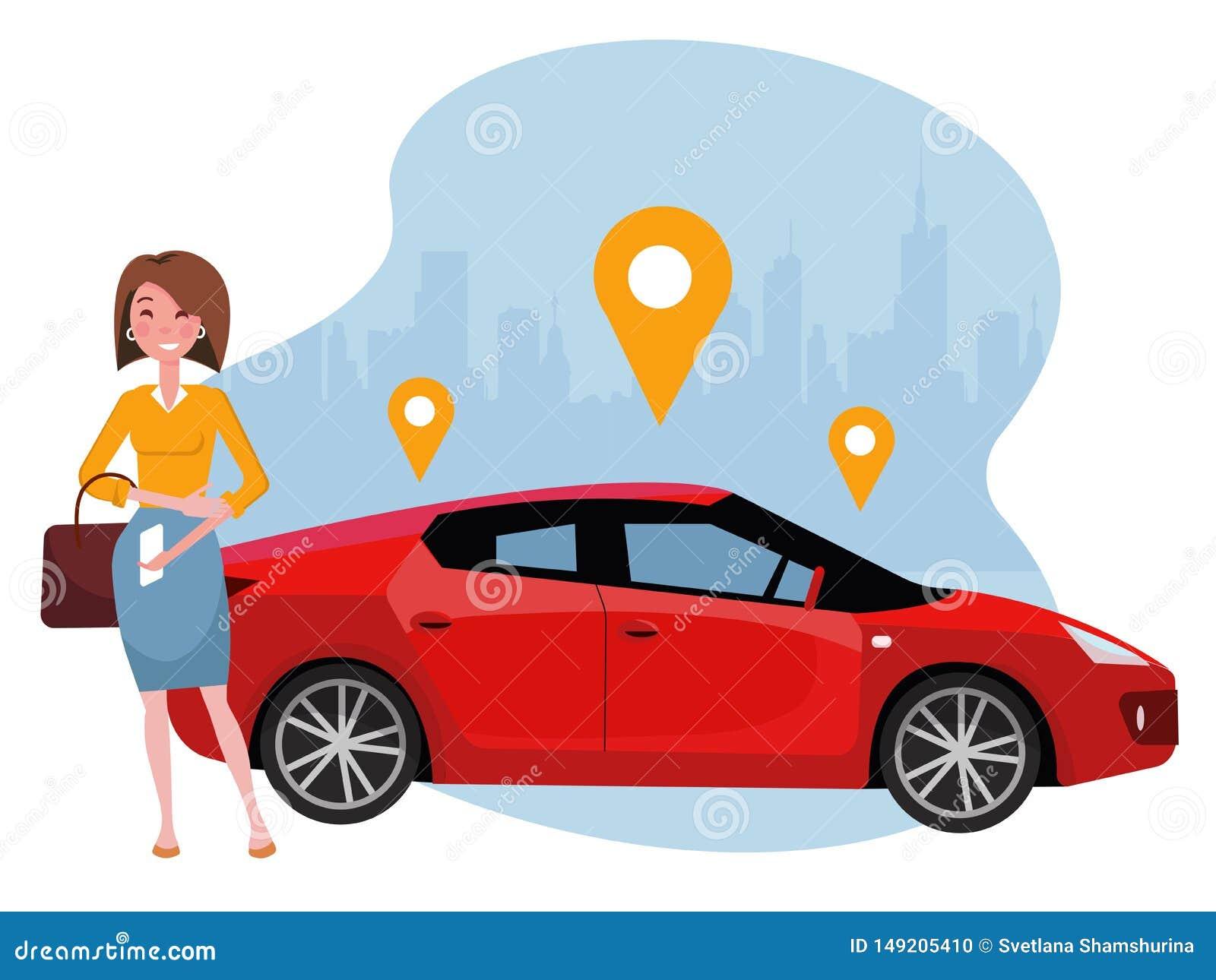Mujer con la situación del smartphone cerca del coche Alquile un coche usando el app m?vil Concepto en línea del coche compartido
