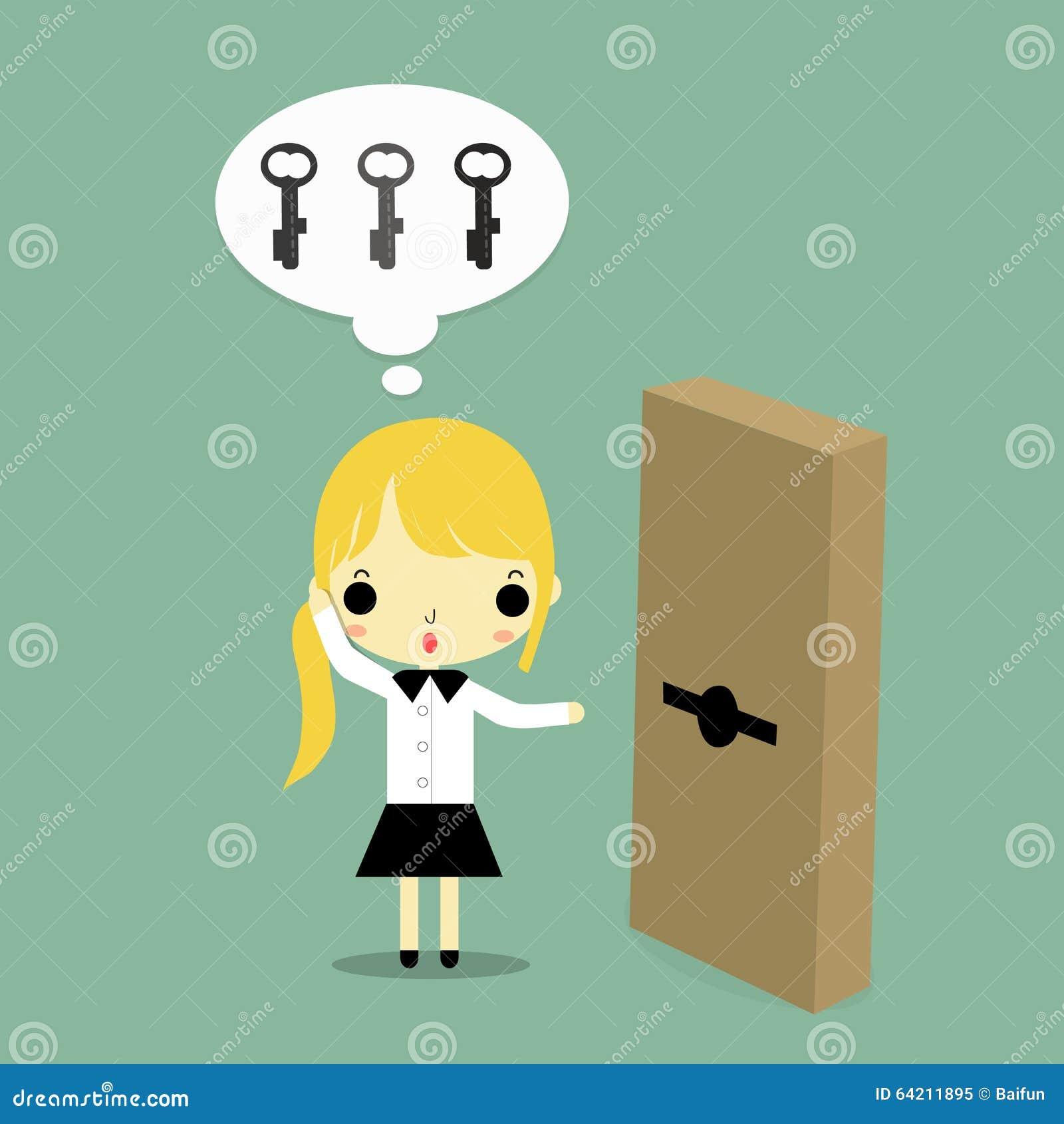 Mujer con llave y la puerta