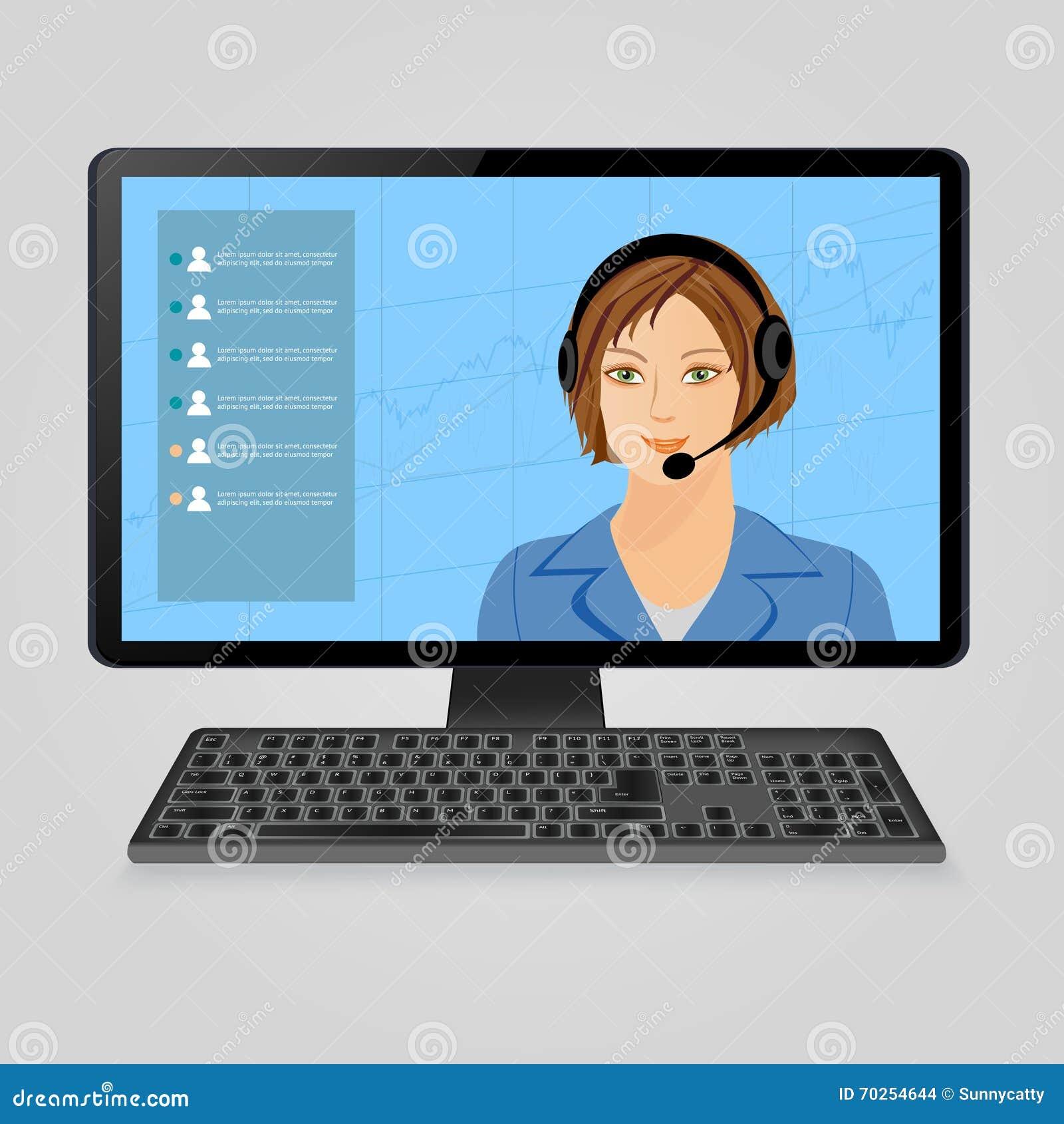 Mujer con los auriculares en la pantalla de monitor de computadora Centro de atención telefónica, ayuda viva del cliente en línea