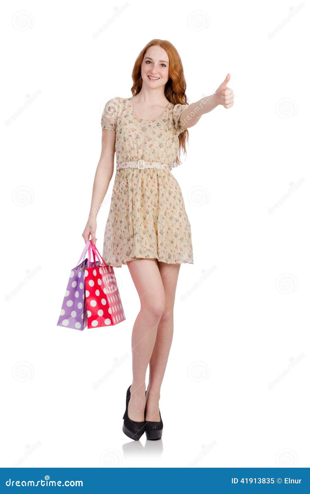 Mujer con los panieres aislados