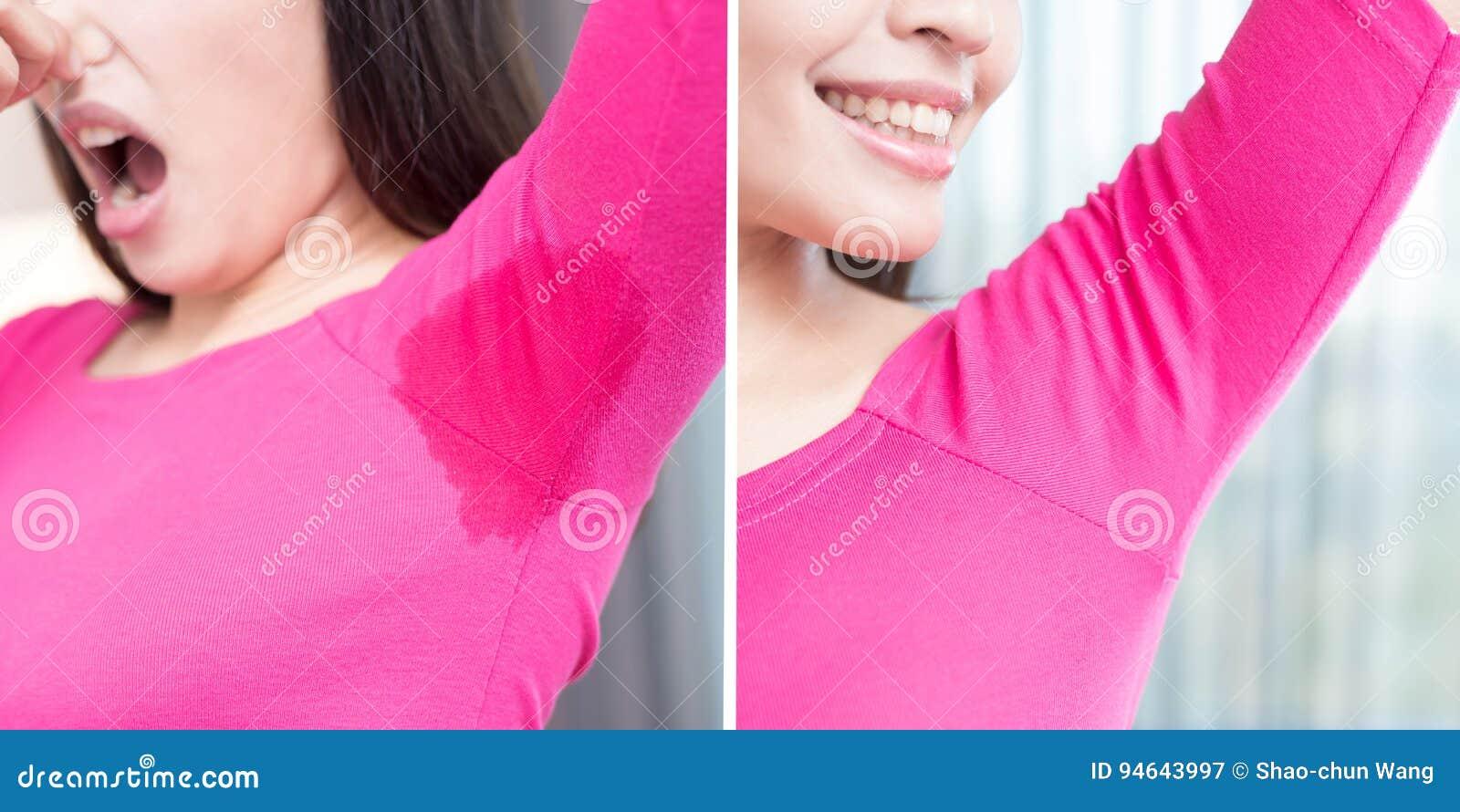 Mujer con olor corporal