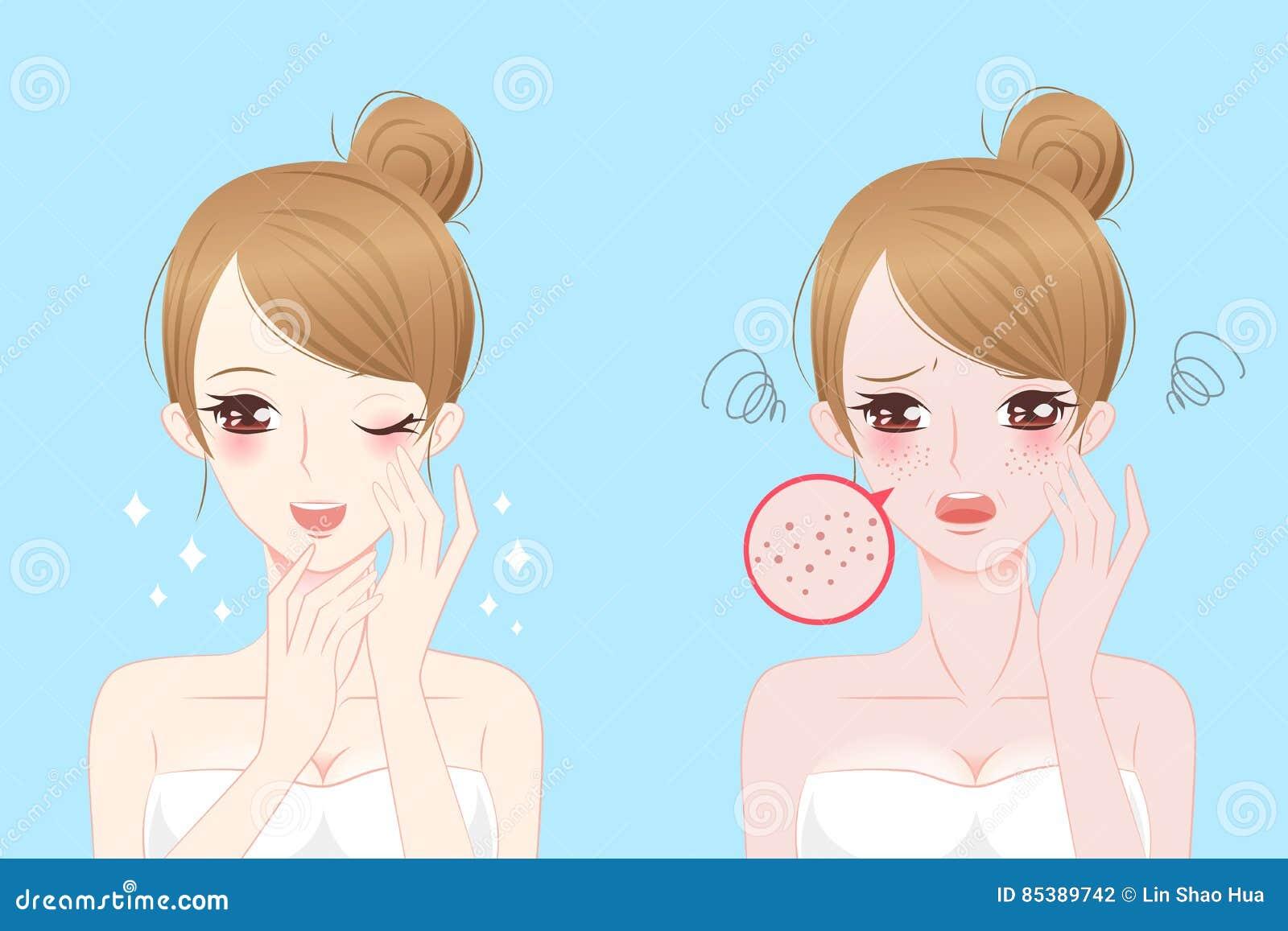 Mujer con problema del skincare