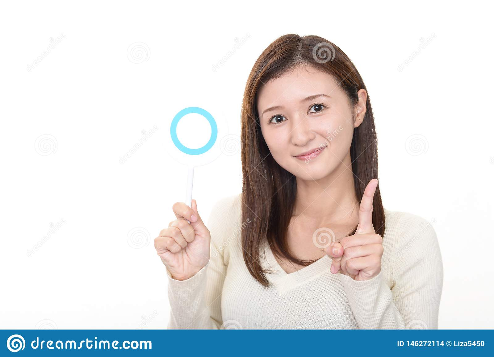 Mujer con una muestra del s?