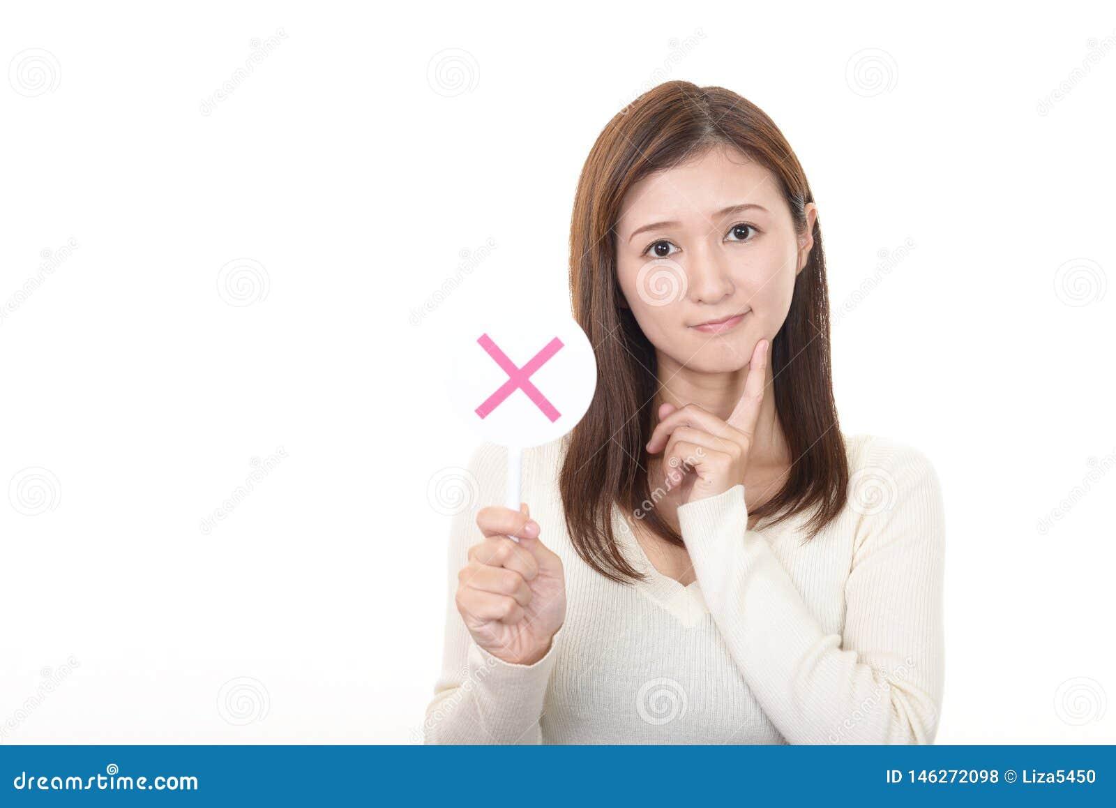 Mujer con una ninguna muestra