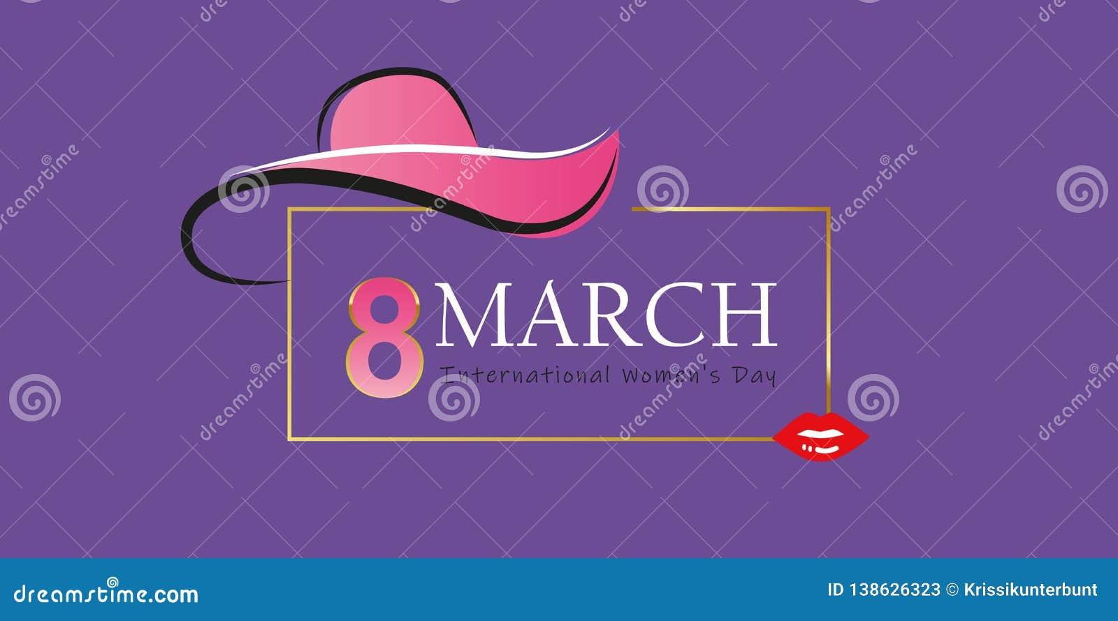 Mujer día tarjeta de felicitación elegante del 8 de marzo con el sombrero y los labios rojos