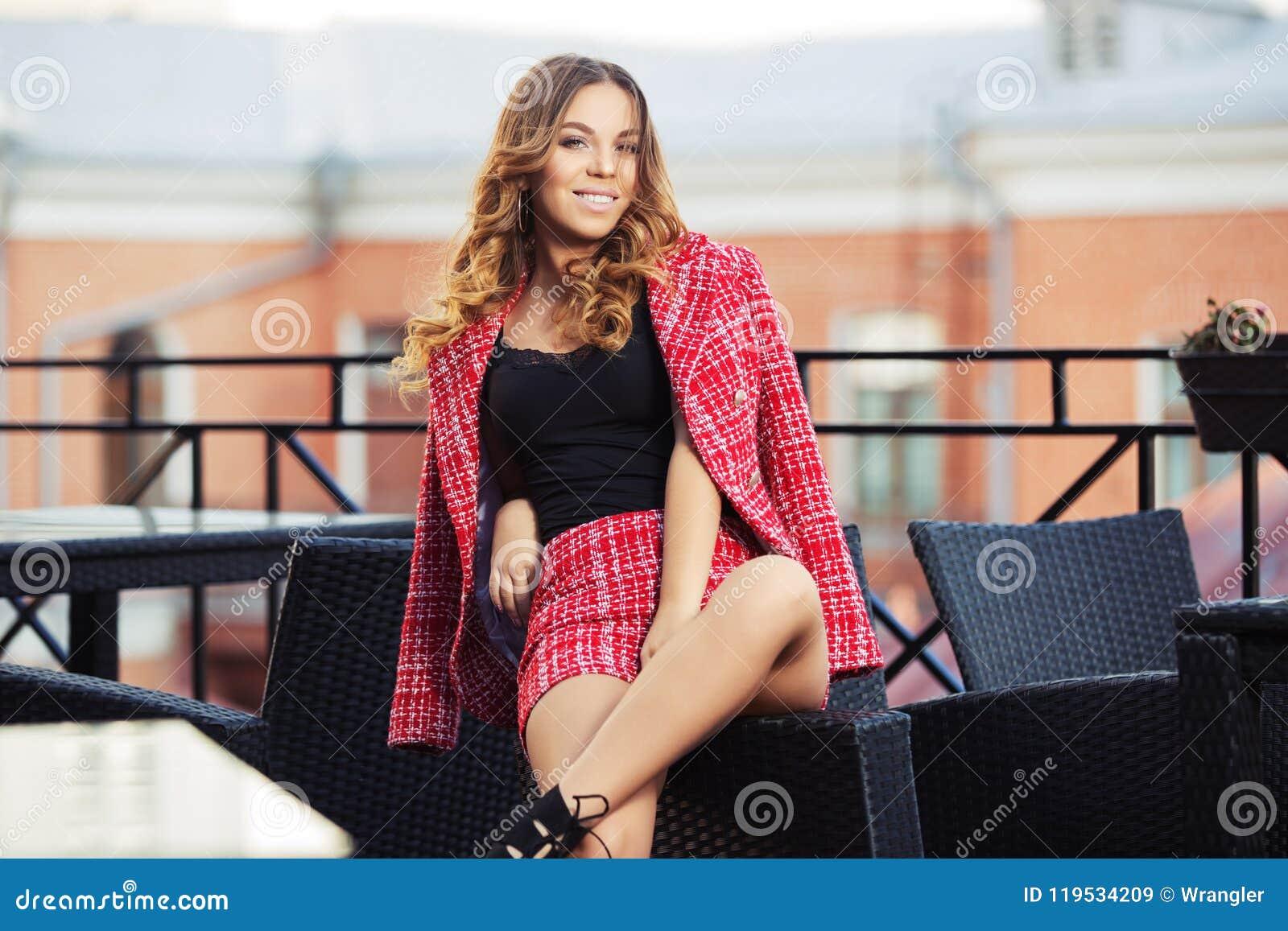 Rojos En Traje Moda De Y Jóvenes Tweed La Mujer Chaqueta Los dBxeCo