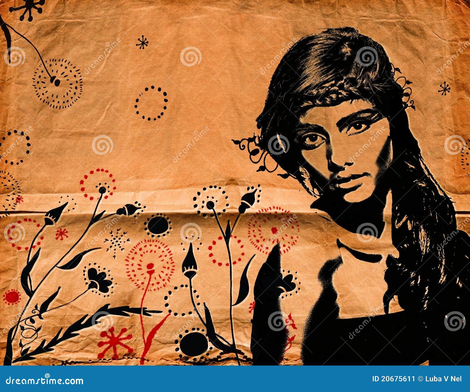 Mujer de la pintada en la pared