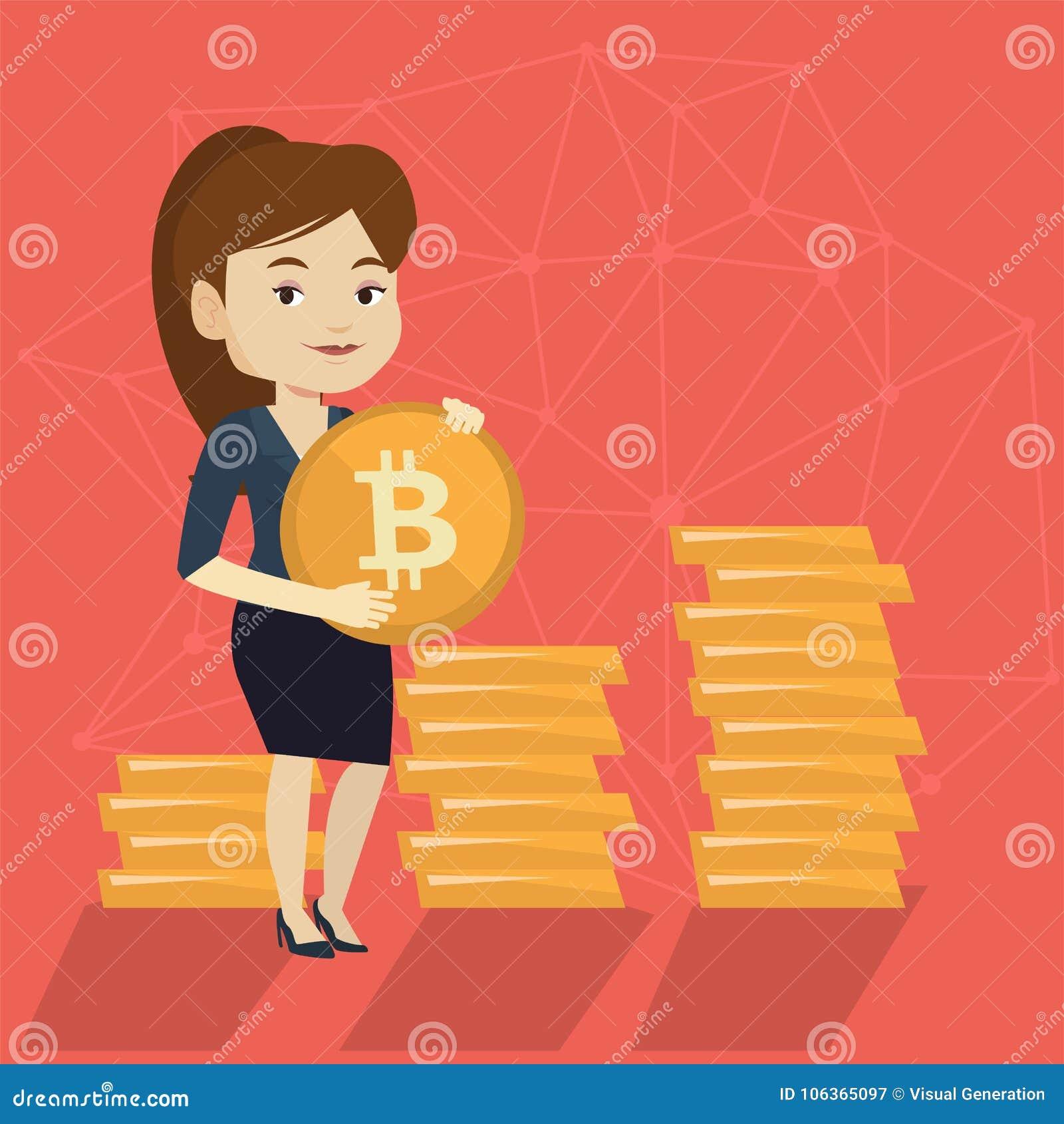 Mujer de negocios acertada joven con la moneda del bitcoin