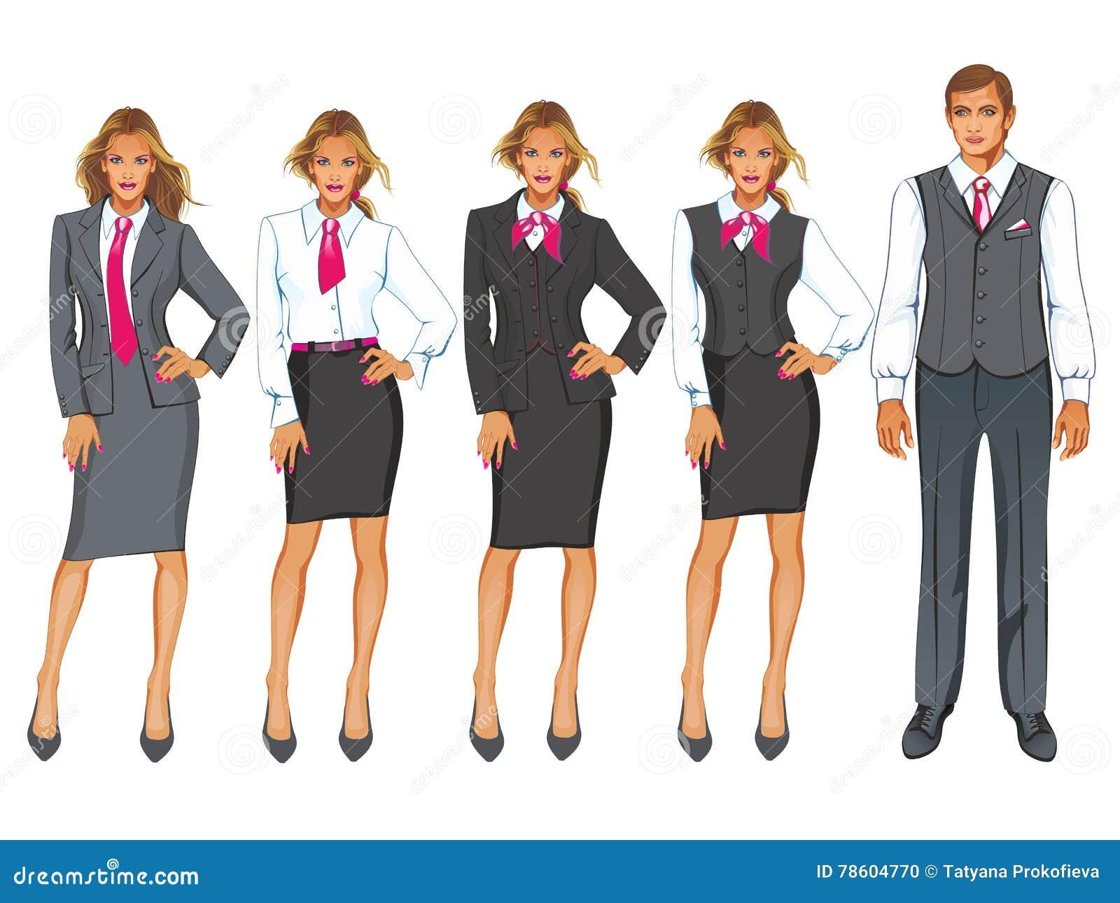 af865f9e3 Ejemplo del vector del código de vestimenta corporativo Empresaria en traje  en blanco