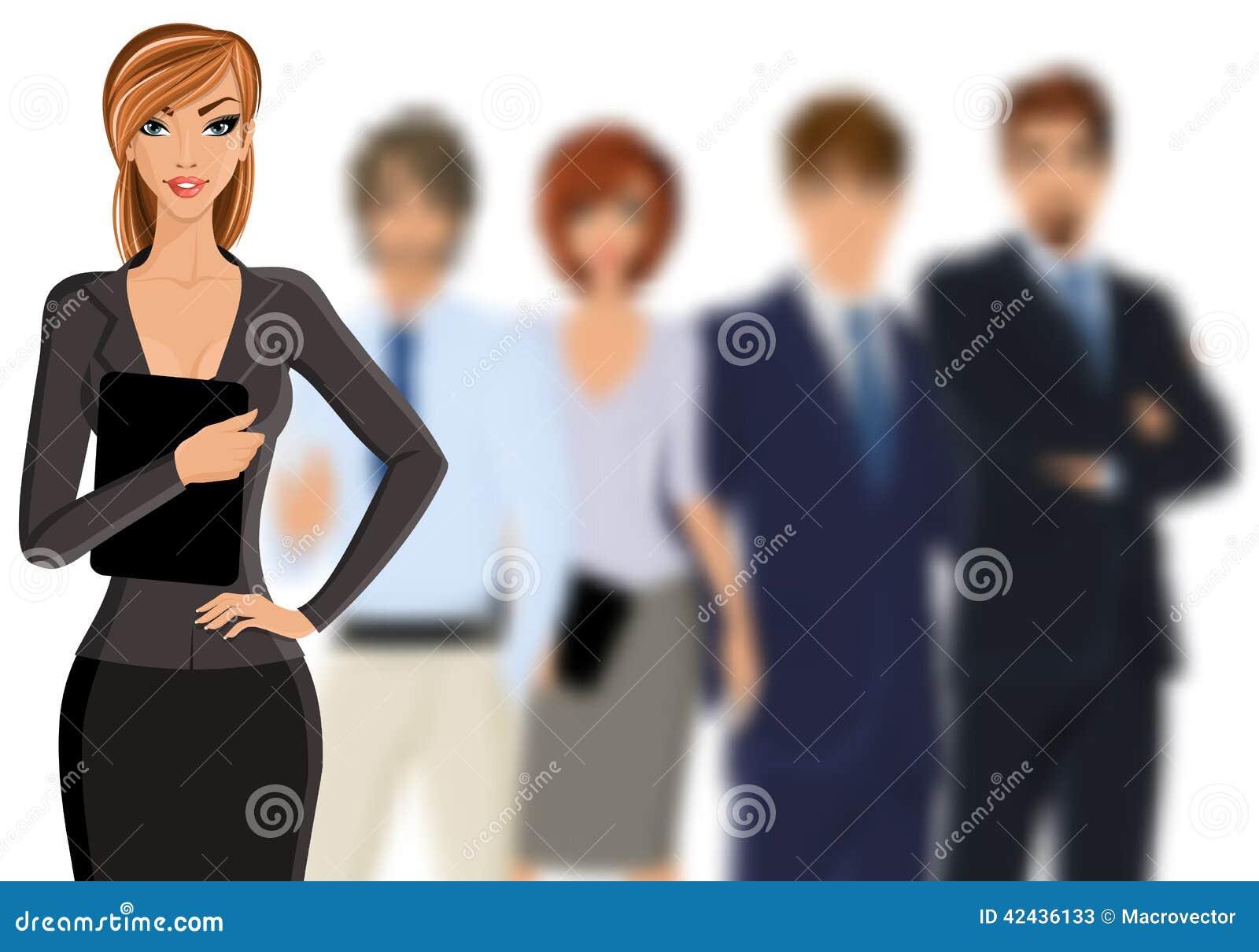 Mujer de negocios con el equipo del negocio