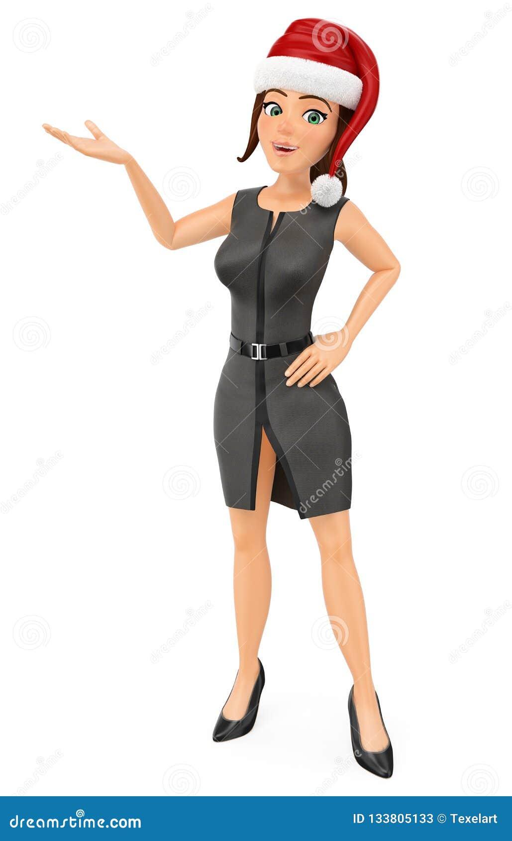 Mujer de negocios 3D con el sombrero de santa que señala a un lado con la mano