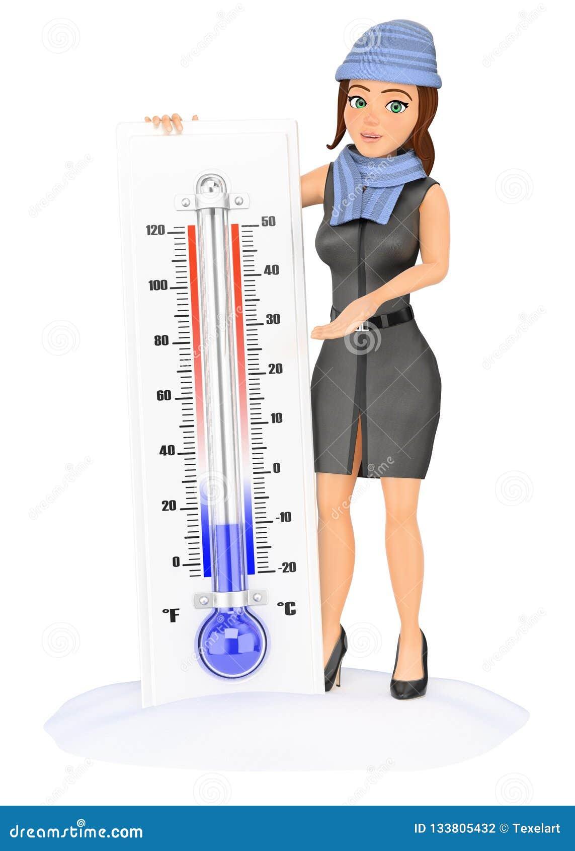 Mujer de negocios 3D con el termómetro frío en la nieve