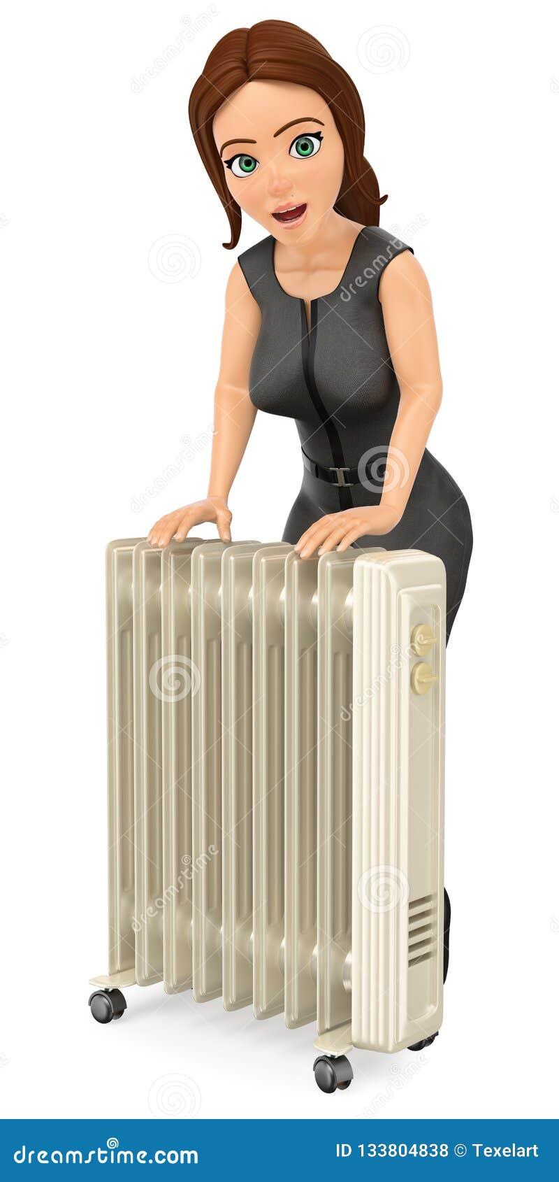 Mujer de negocios 3D que se calienta con un radiador portátil