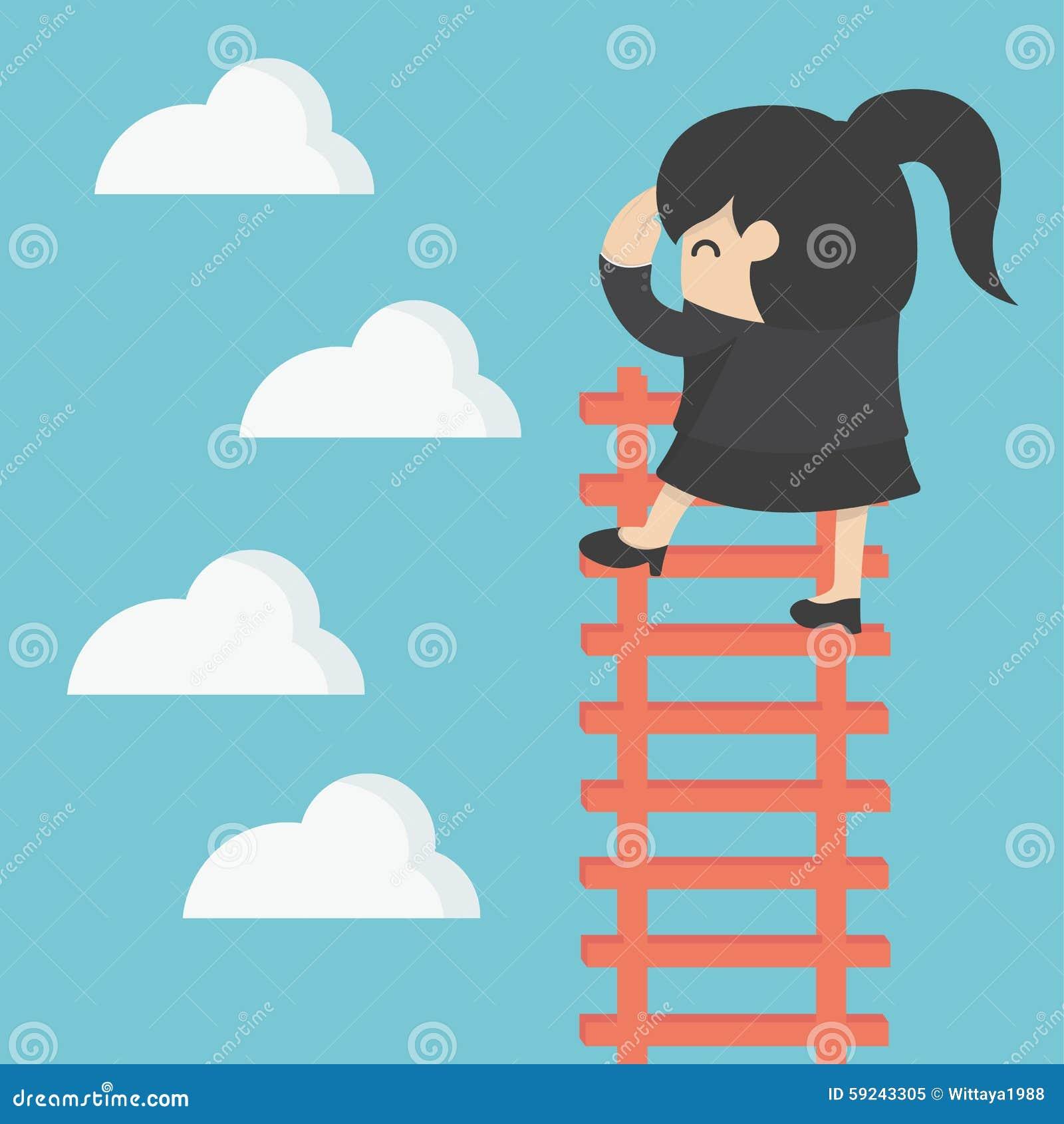 Mujer de negocios en la escalera que busca éxito