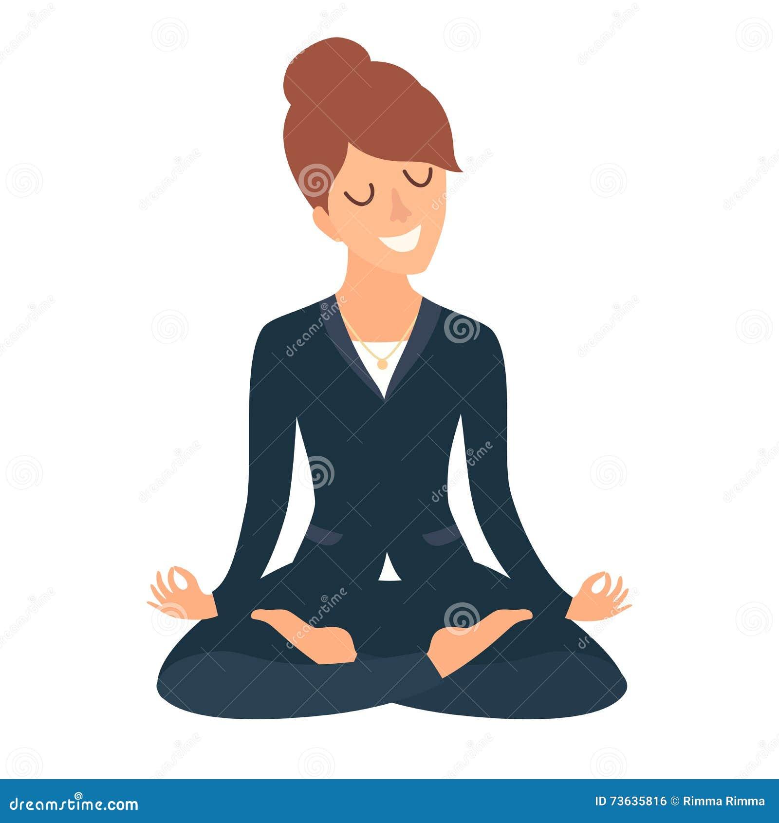 Mujer de negocios meditating Concepto del negocio tranquilo, trabajo en la oficina Trabajador feliz Mujer de negocios en la actit